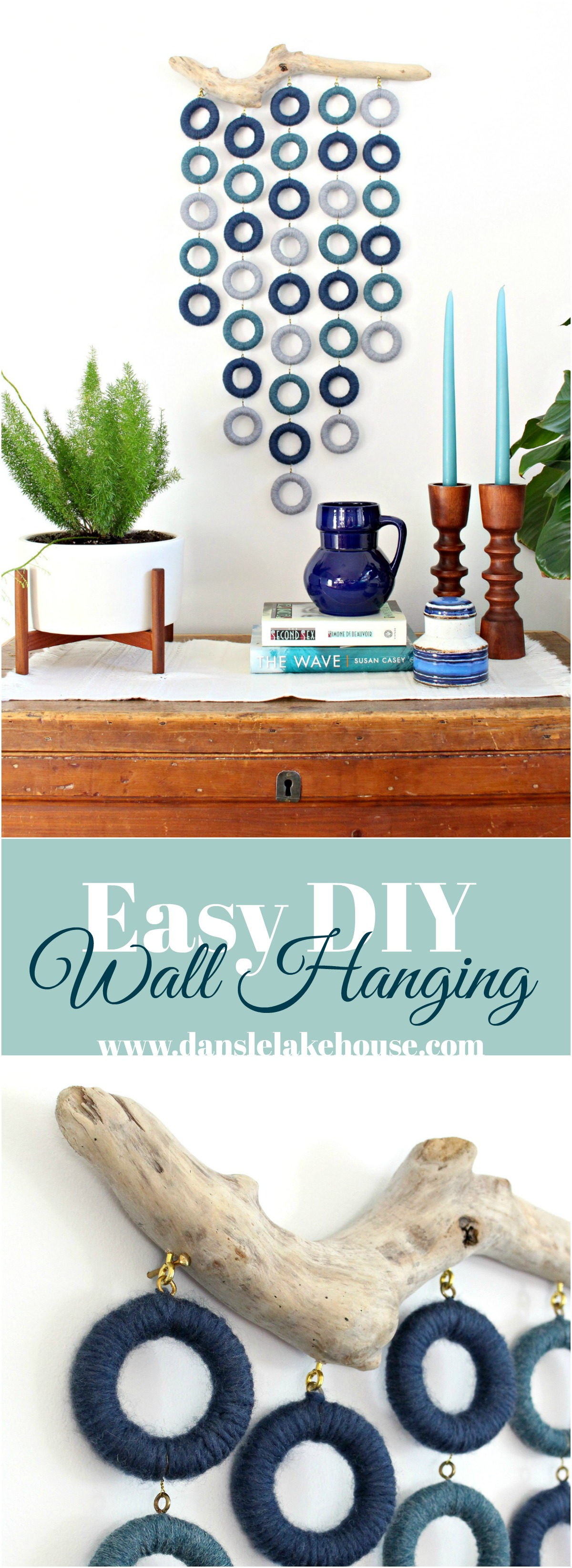 Easy No Weave DIY Wool Wall Hanging on Driftwood
