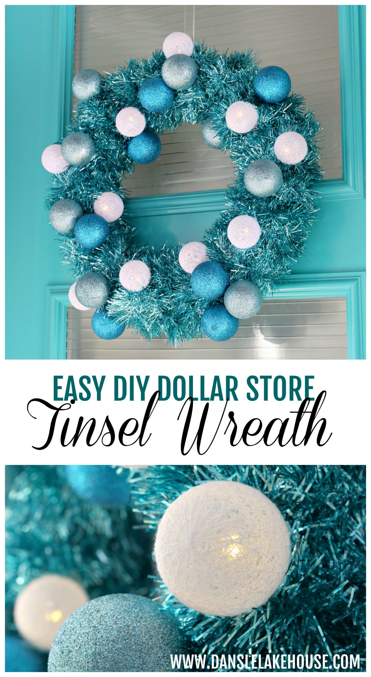 DIY Turquoise Tinsel Wreath with Retro Vibes #diychristmas #tinsel #tinselwreath #retrochristmas