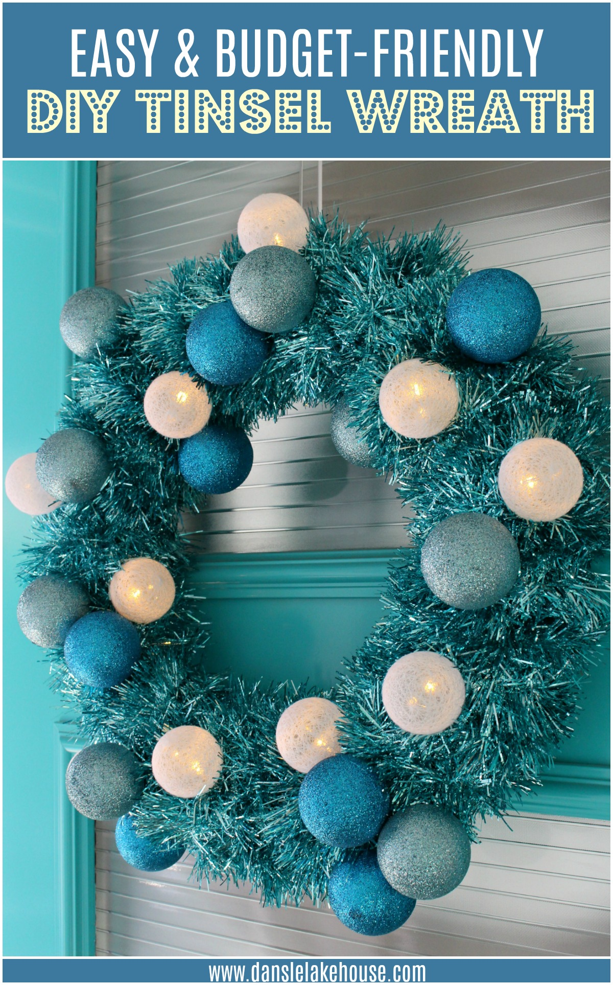 Inexpensive Dollar Store DIY Tinsel Wreath with Retro Vibes #diychristmas #tinsel #tinselwreath #retrochristmas