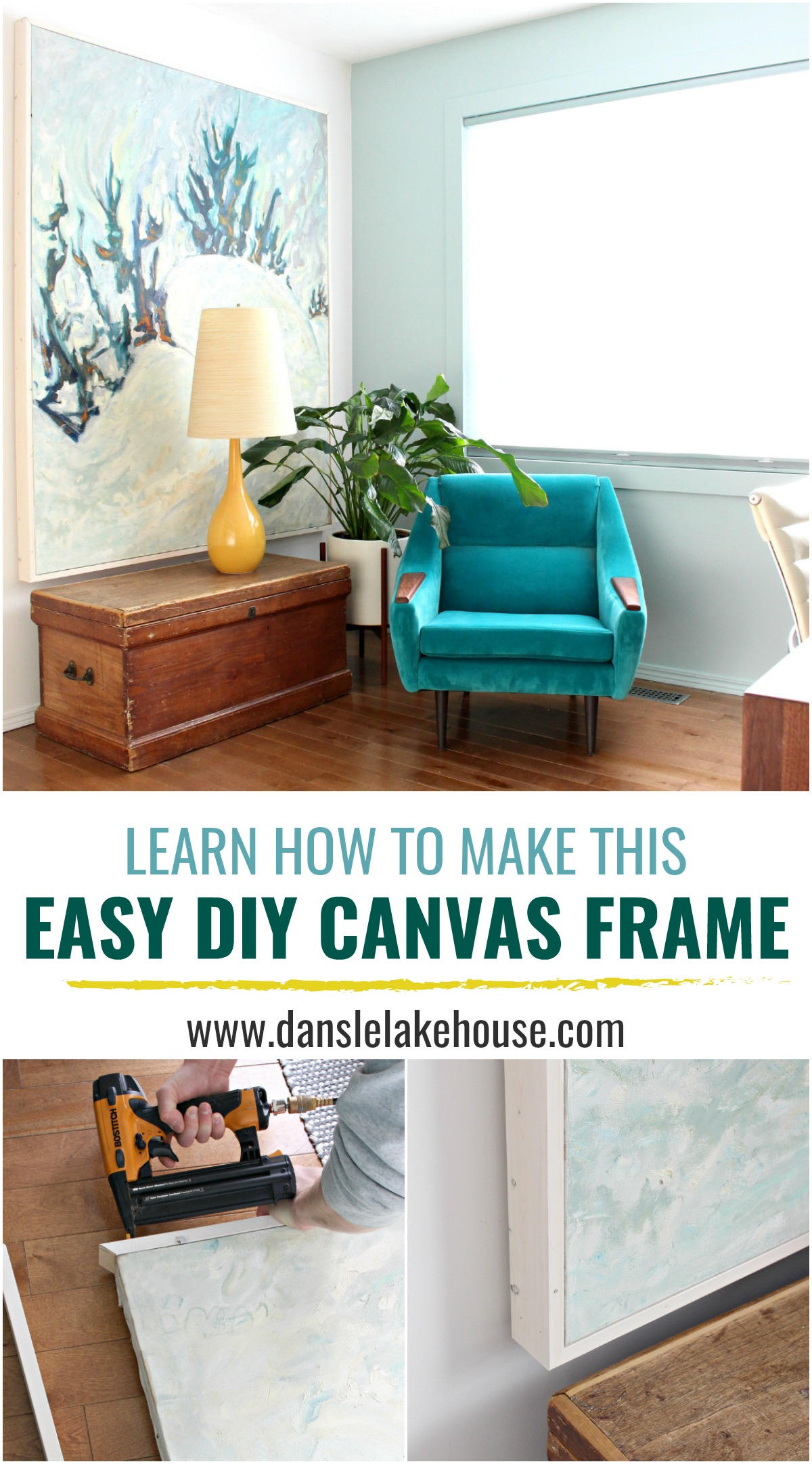 How to Frame Art for Cheap | Easy DIY Canvas Frame #woodworking #diy #diyframe #savemoney #budgethomedecor