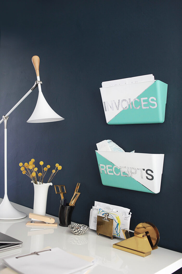 Turquoise Wall Pocket Office Storage | 15 Stylish DIY Projects for Organizing Your Home #organizing #diy #diyhome #clutterbustingtips