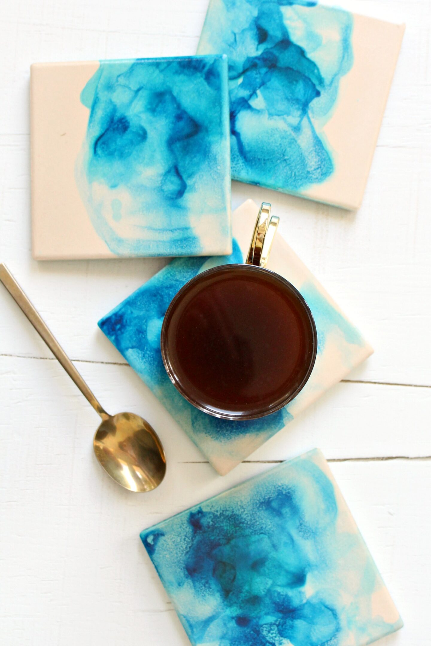 DIY Alcohol Ink Coasters | 15 Beautiful Handmade Mother's Day Gift Ideas