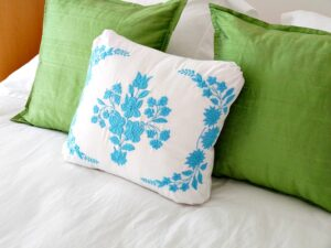 TURQUOISE EMBROIDERY PILLOW
