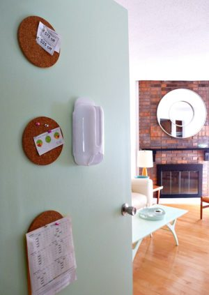 MINT DOOR AND DIY CORK MEMO BOARD