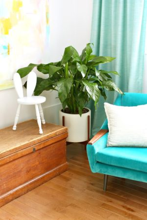 BUNNY STOOL FURNITURE HACK FOR EASTER