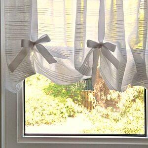 DIY FAUX ROMAN BLIND SHEERS FOR AWKWARD WINDOW