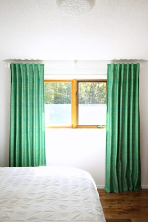 GREEN TWEED CURTAINS