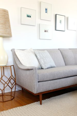 MID-CENTURY MODERN SECTIONAL SOFA BEFORE AND AFTER