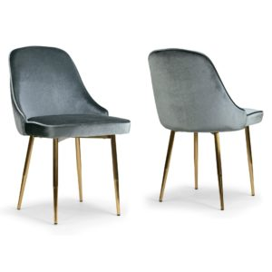 GREY VELVET MCM DINING CHAIRS