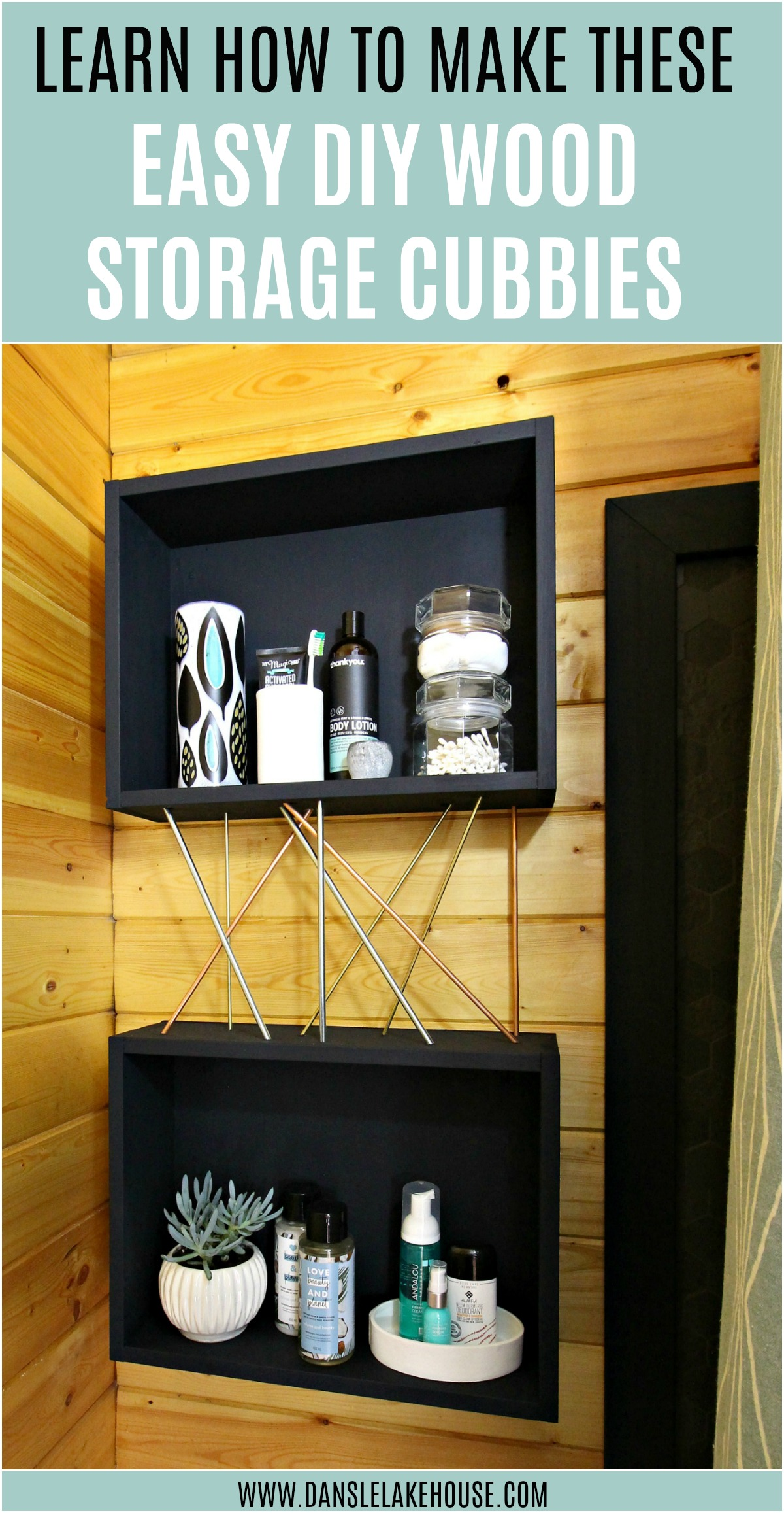 DIY Wood Storage Cubbies with Mid-Century Modern Inspired Metal Details
