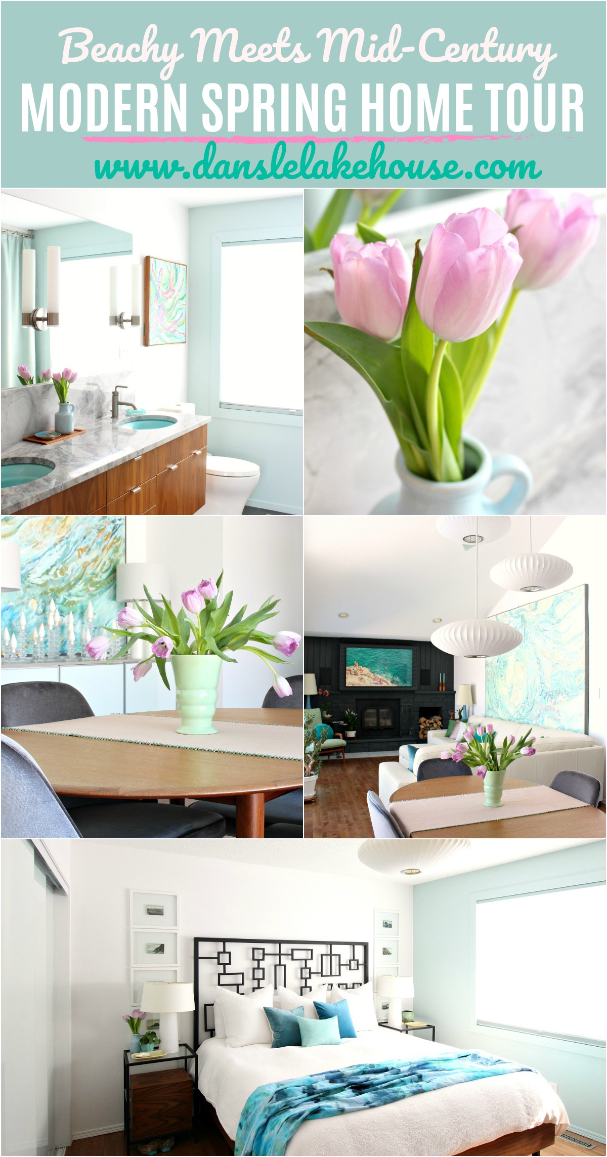 Beachy Meets Mid-Century Modern Spring Home Tour Blog Hop. TONS of Easy and Affordable Spring Decor Ideas. #springdecor #homedecor #moderncoastal #beachy #beachhouse