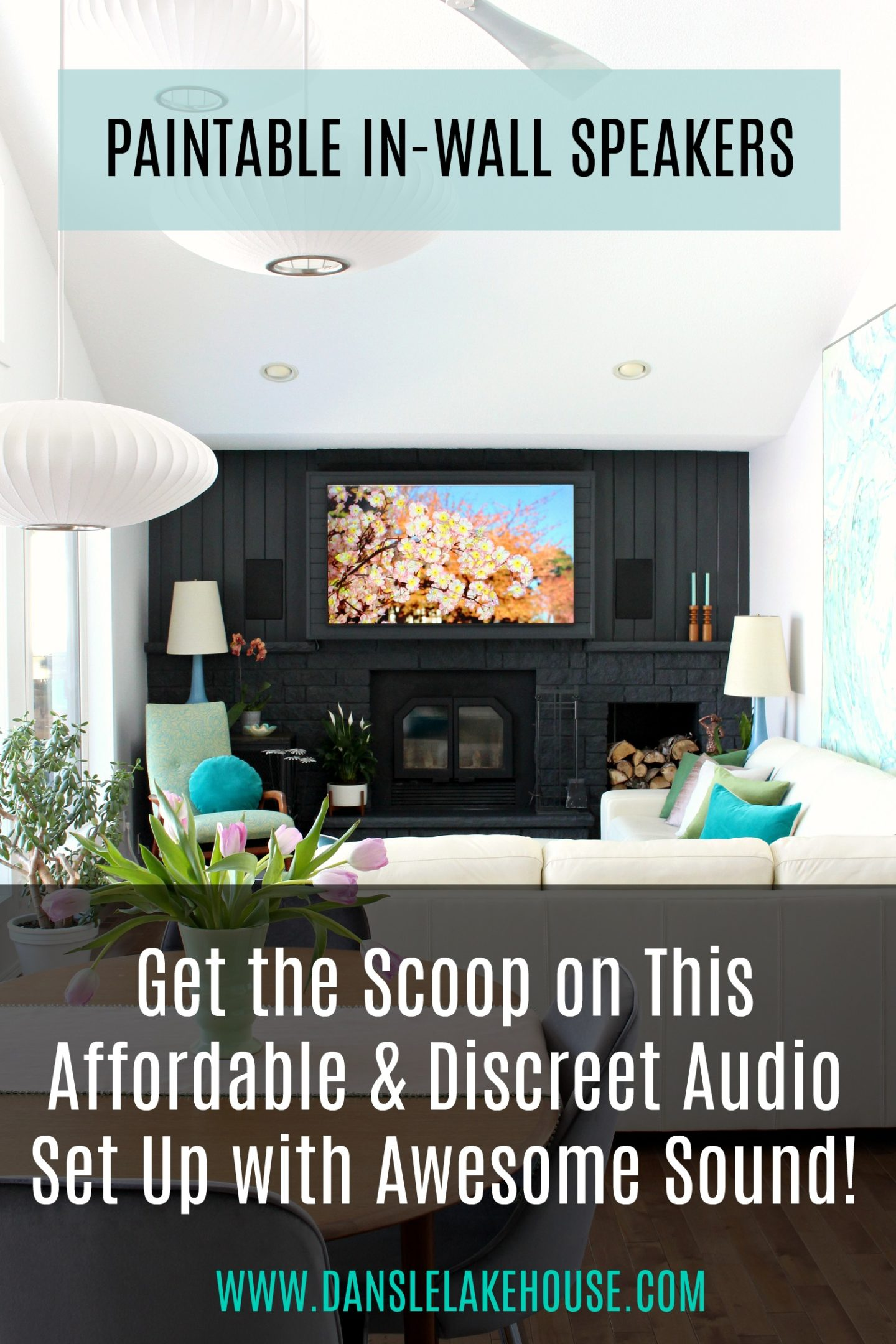 Want a great audio set up that doesn't look horrible! Check out these paintable in-wall speakers! Paint them ANY color to blend in with walls. Click through for exact product link - plus the link for the small receiver and subwoofer user here - they fit in a small media cabinet! Create a beautiful living room with amazing sound. #livingroom #audiosetup #speakers #tv