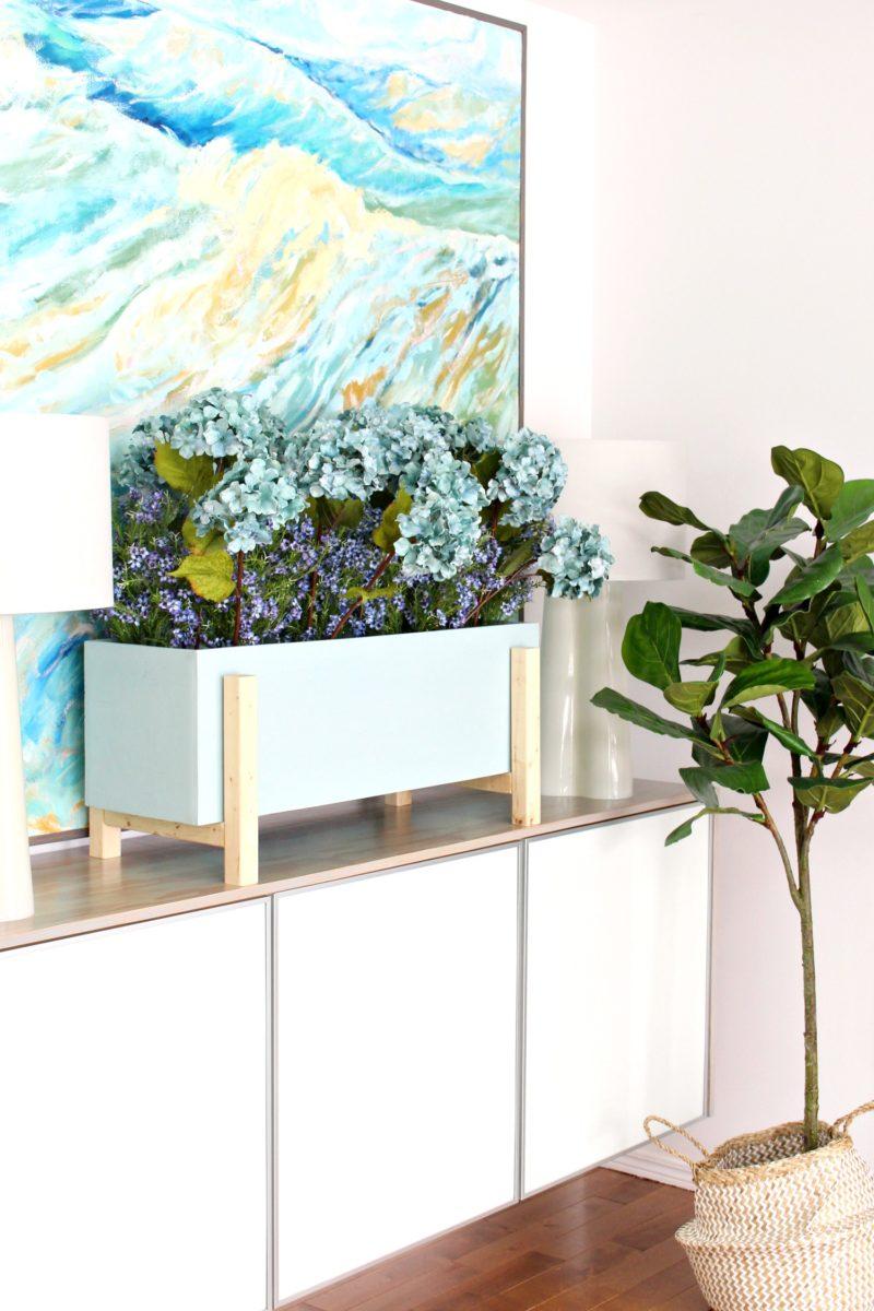 Modern DIY Planter Box for Faux Plants