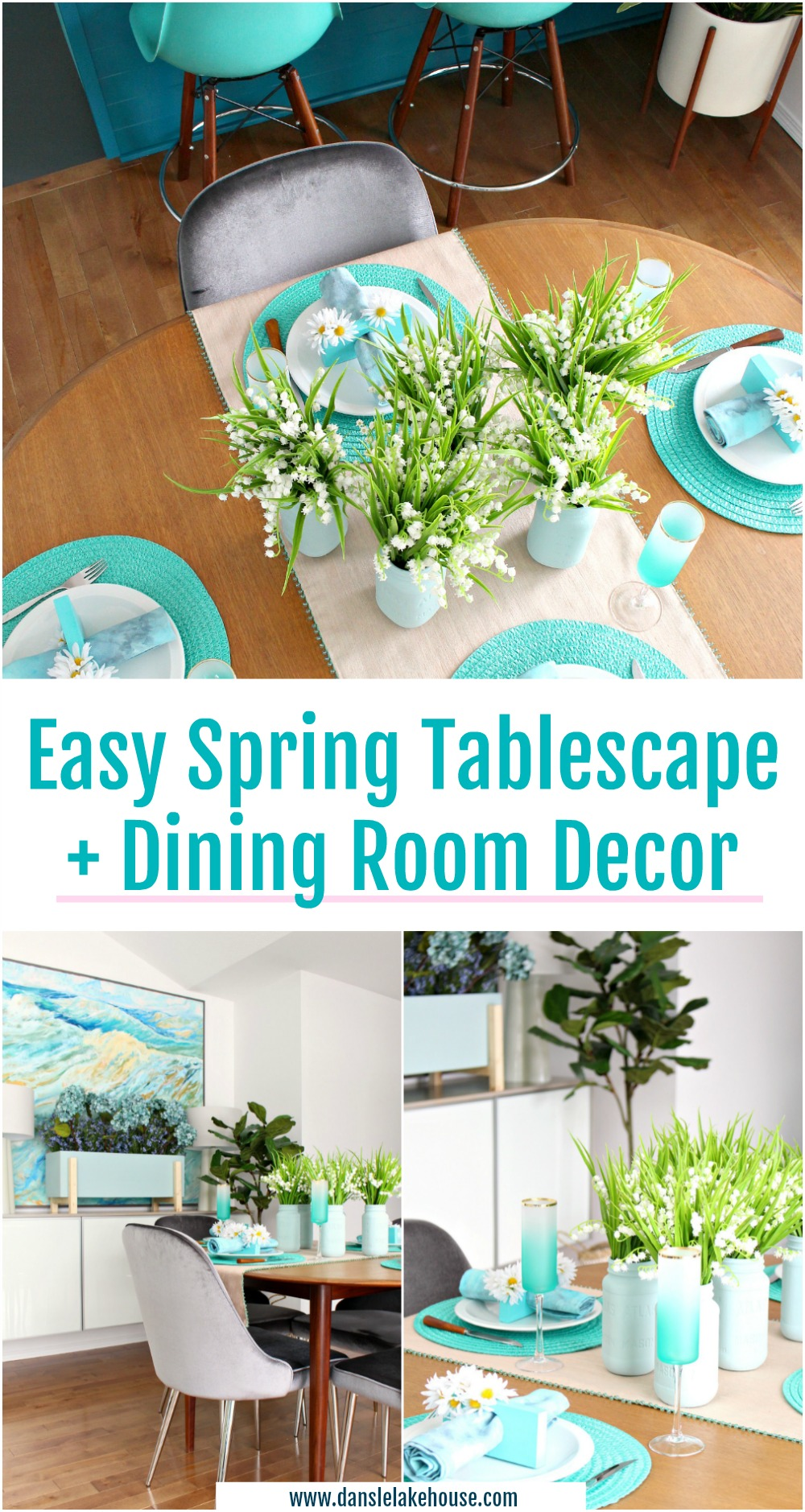 Easy Spring Tablescape and Dining Room Decor. DIY Spring Home Decor Ideas. #springdecor #diyspring #homedecor