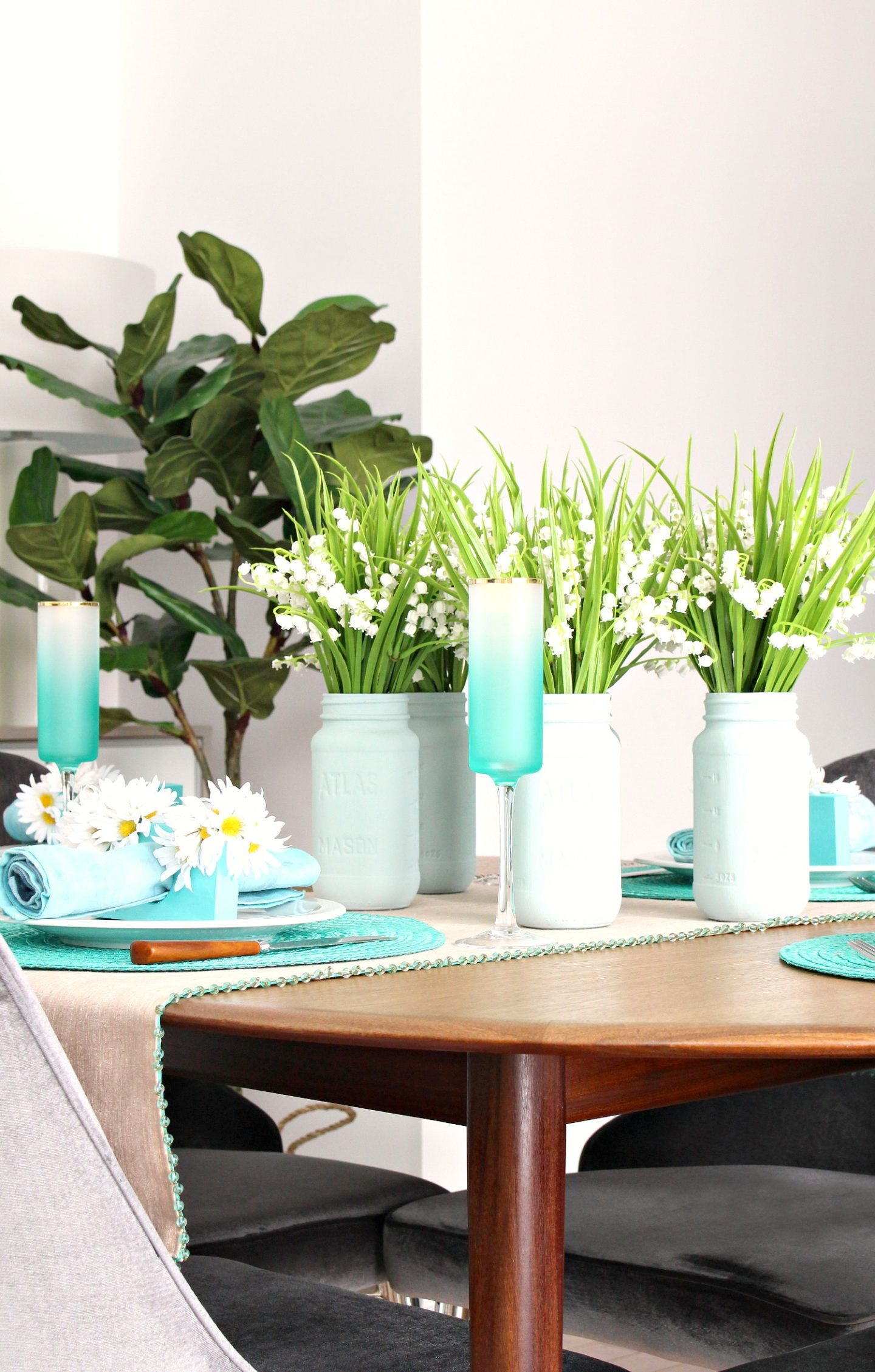 Painted Mason Jars and Lily of the Valley Easy Spring Tablescape + Dining Room Decor