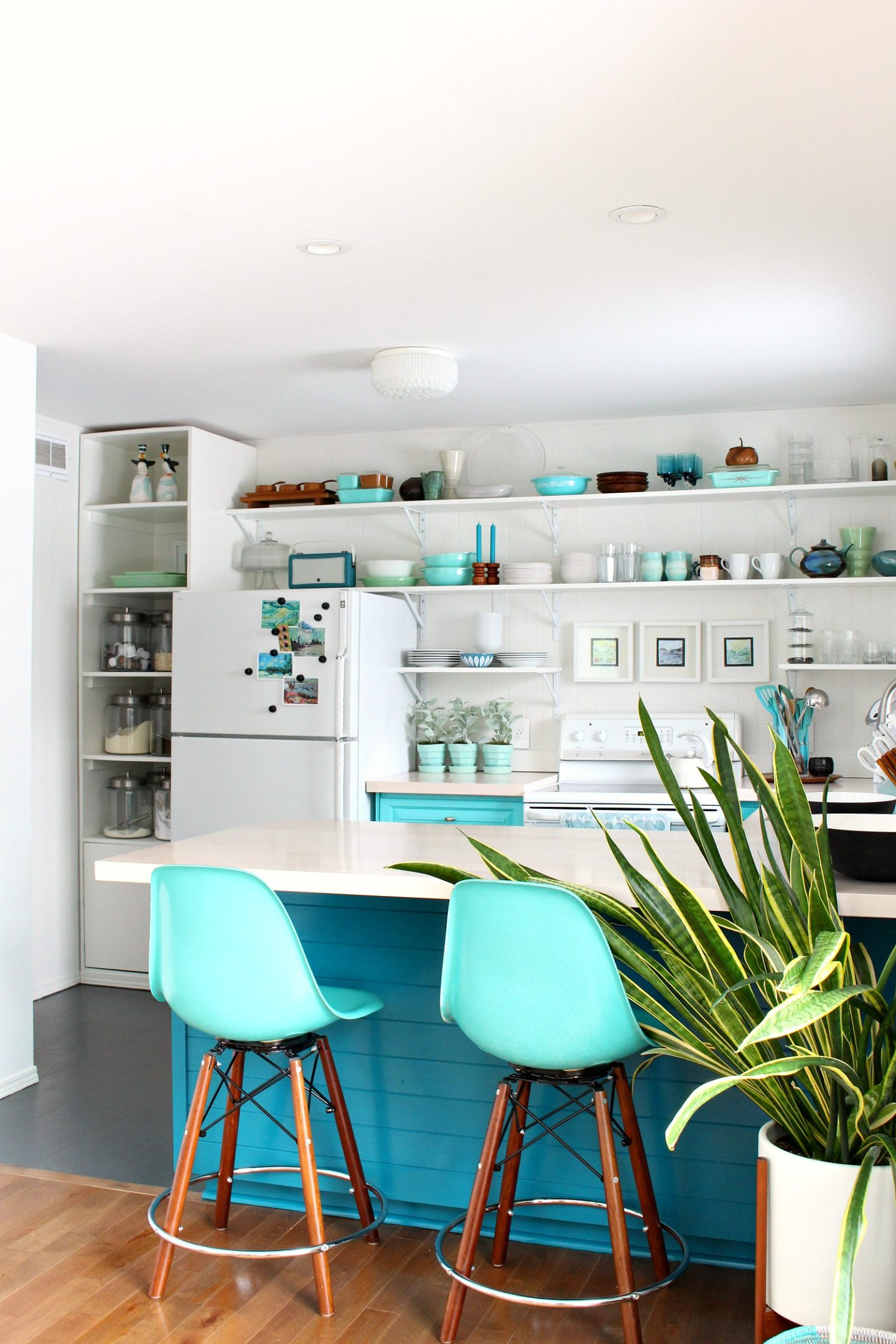 How to Install Tongue and Groove Paneling on Kitchen Cabinets in Teal and Aqua Kitchen Design