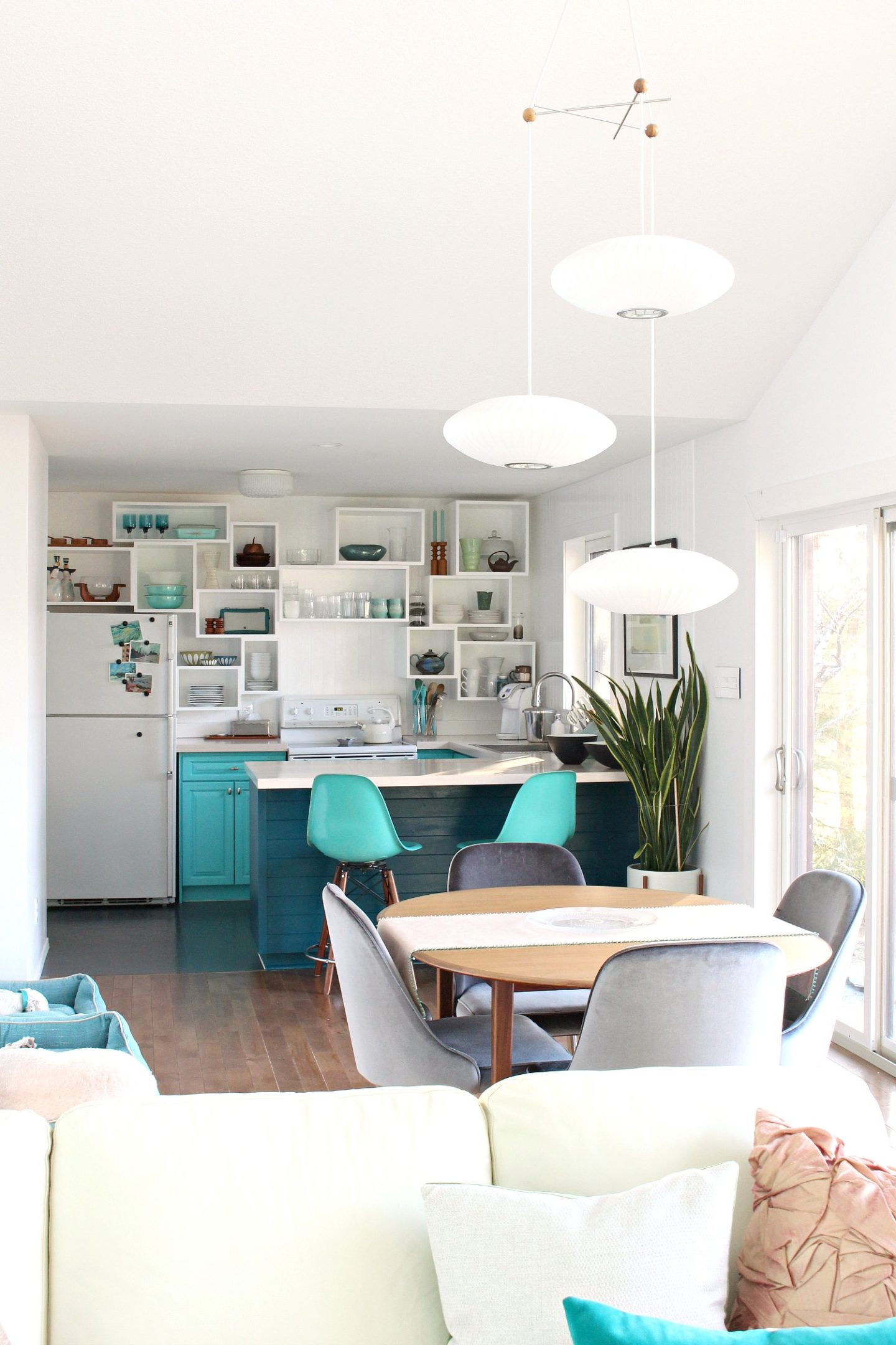 Teal and Turquoise Kitchen Design with Wall Cubbies. Learn How to Build These Wall Cubbies! Easy DIY Storage Cubby Tutorial. #diy #diyprojects #diyhome #budgethomedecor