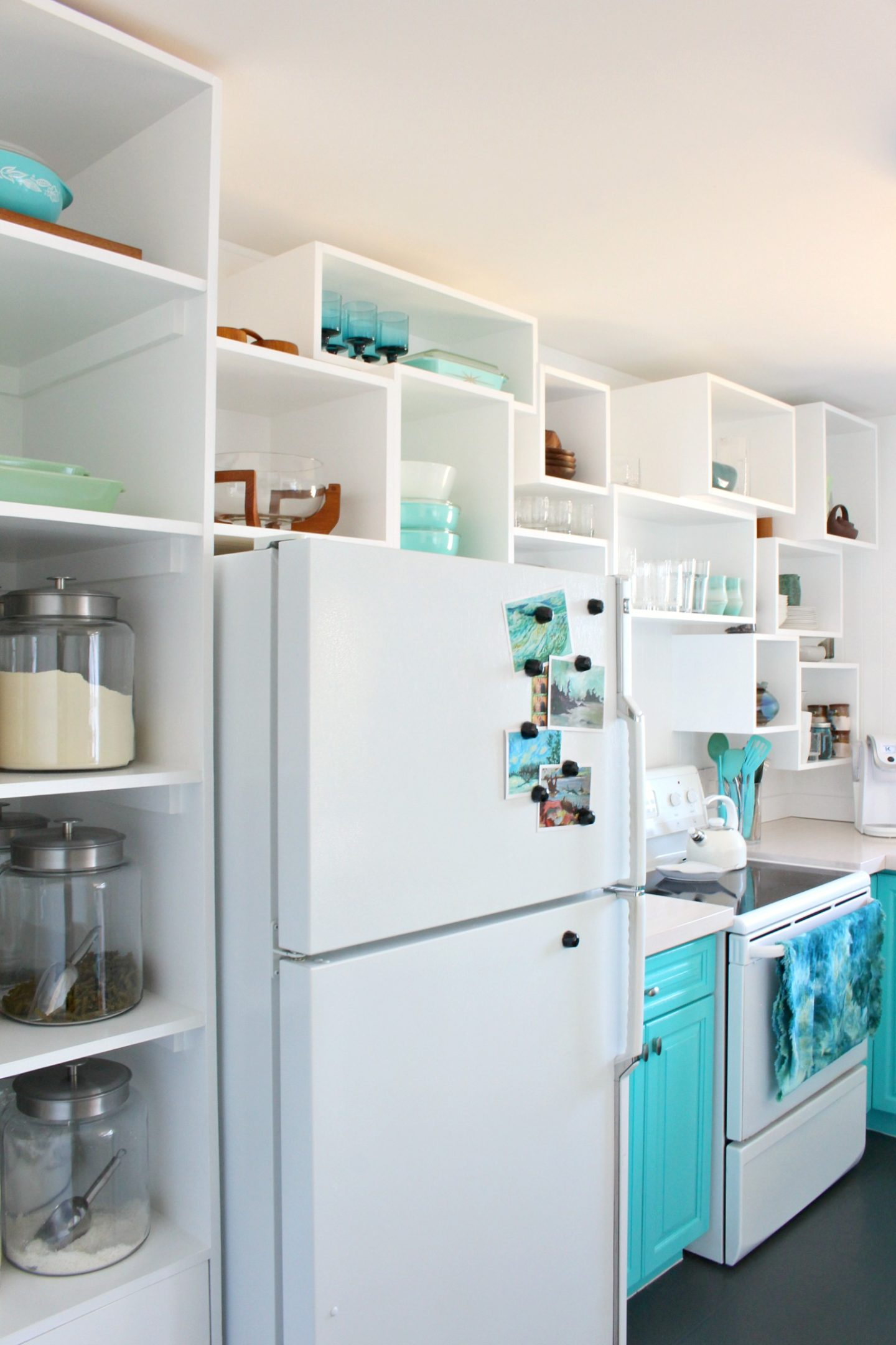 How to Build Wall Cubbies | Fresh Take on Kitchen Open Shelving in Bold Turquoise Kitchen