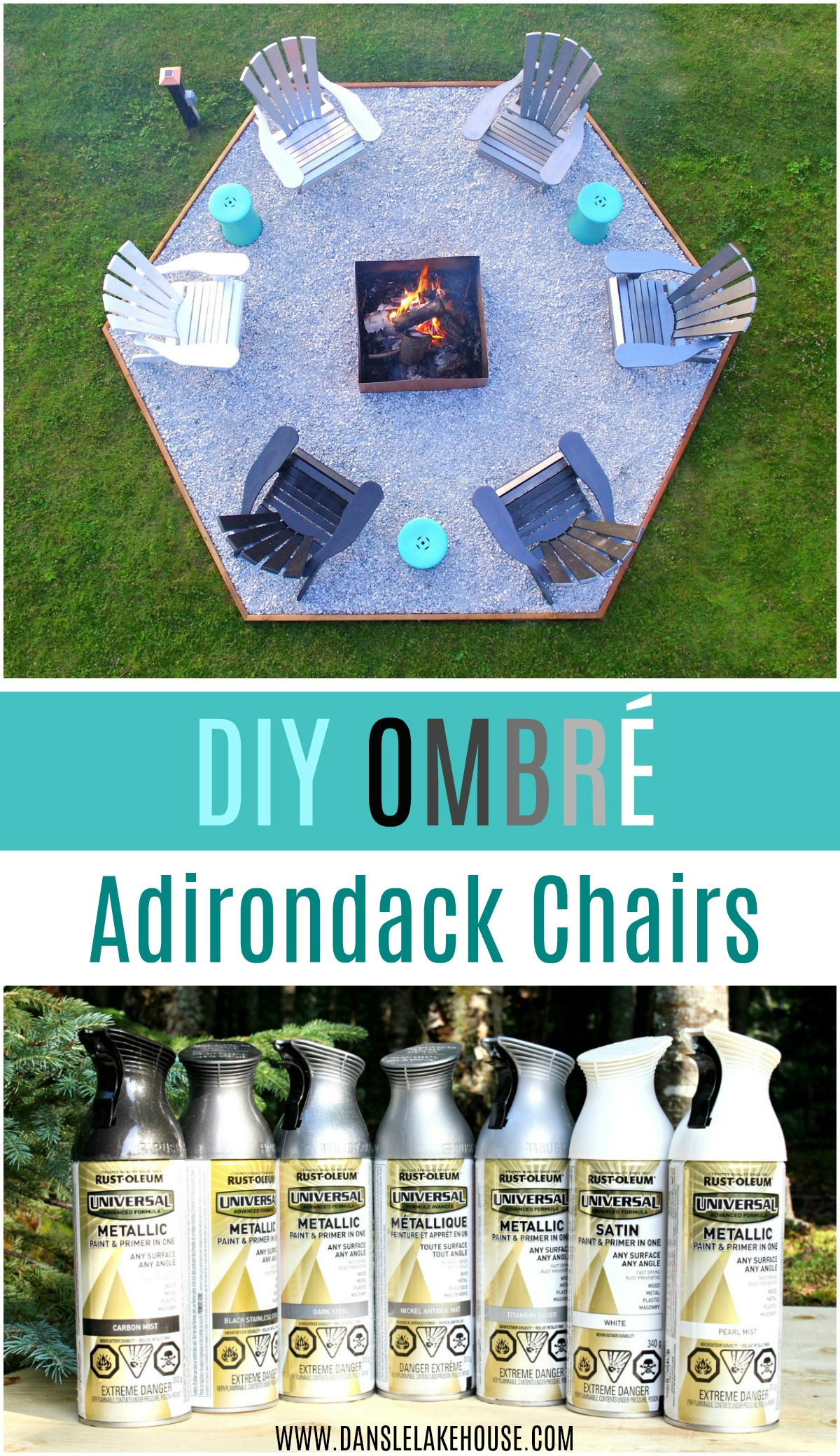 Modern Fire Pit Makeover + DIY Ombre Adirondack Chairs (Sponsored by The Home Depot Canada)