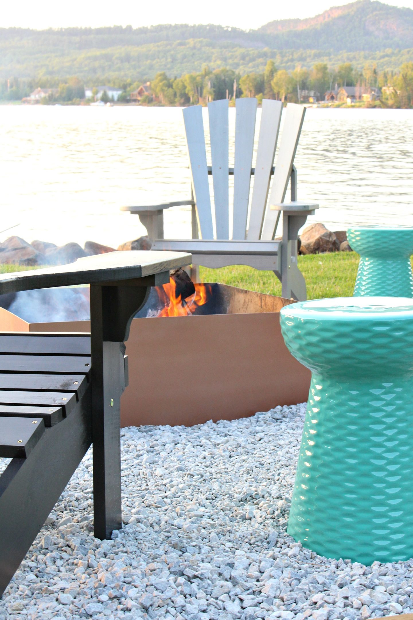 Unique Fire Pit Makeover + DIY Ombre Adirondack Chairs (Sponsored by The Home Depot Canada)