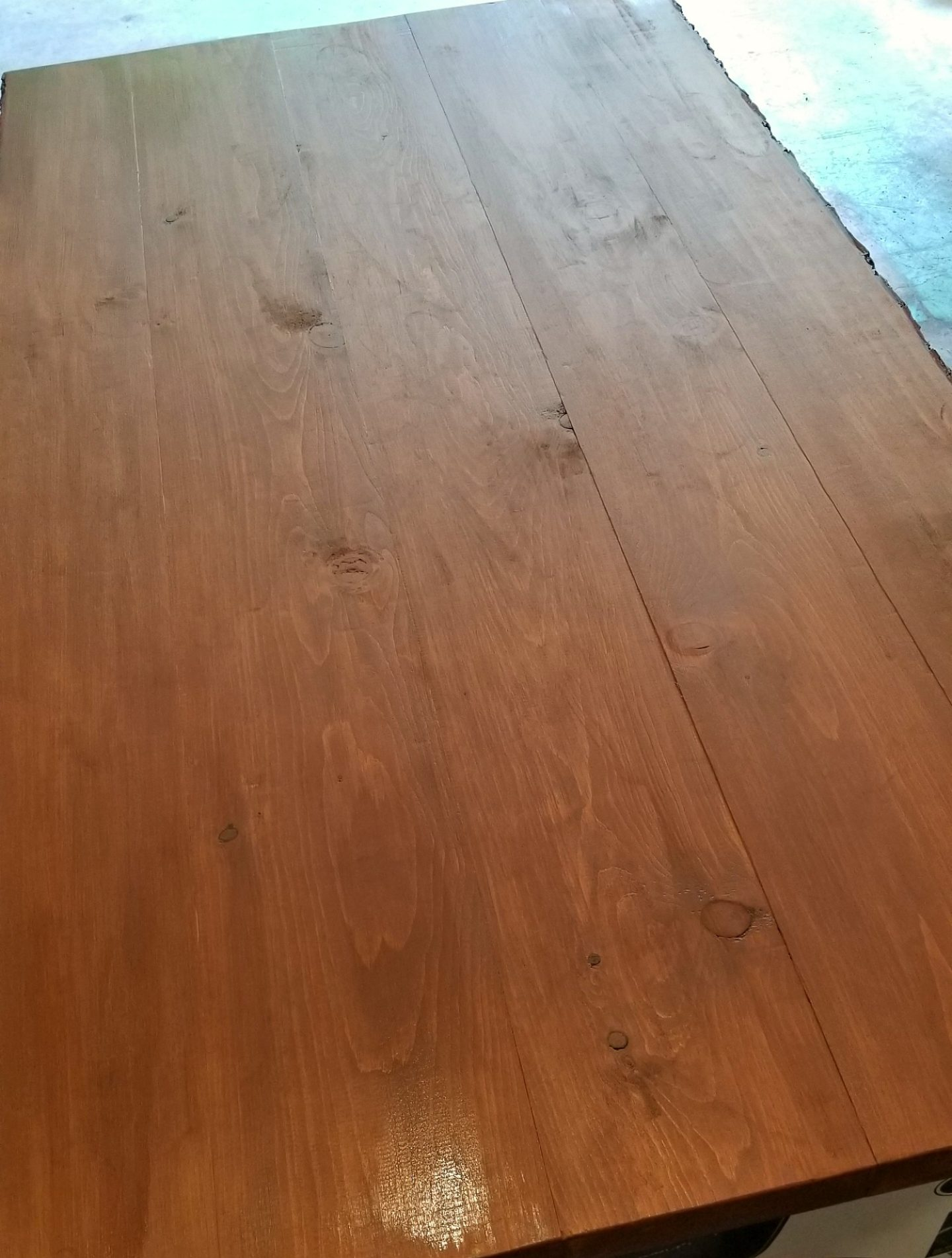 Chestnut Wood Stain on Solid Pine