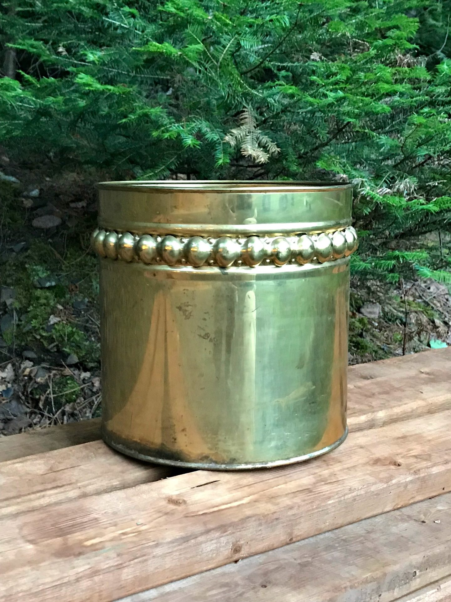 Vintage Brass Planter Nailhead Trim