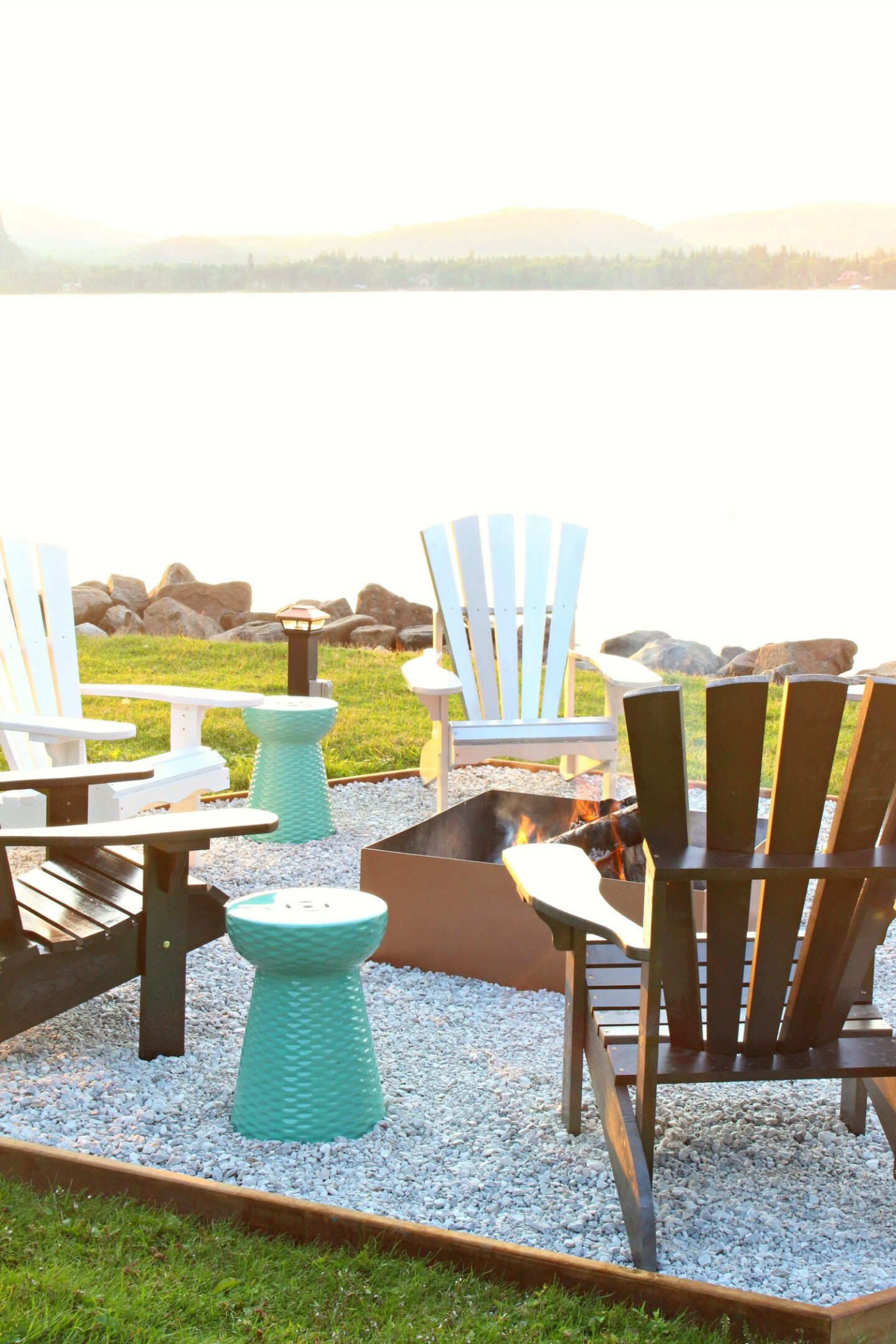 Hex Shaped Fire Pit Makeover + DIY Ombre Adirondack Chairs (Sponsored by The Home Depot Canada)