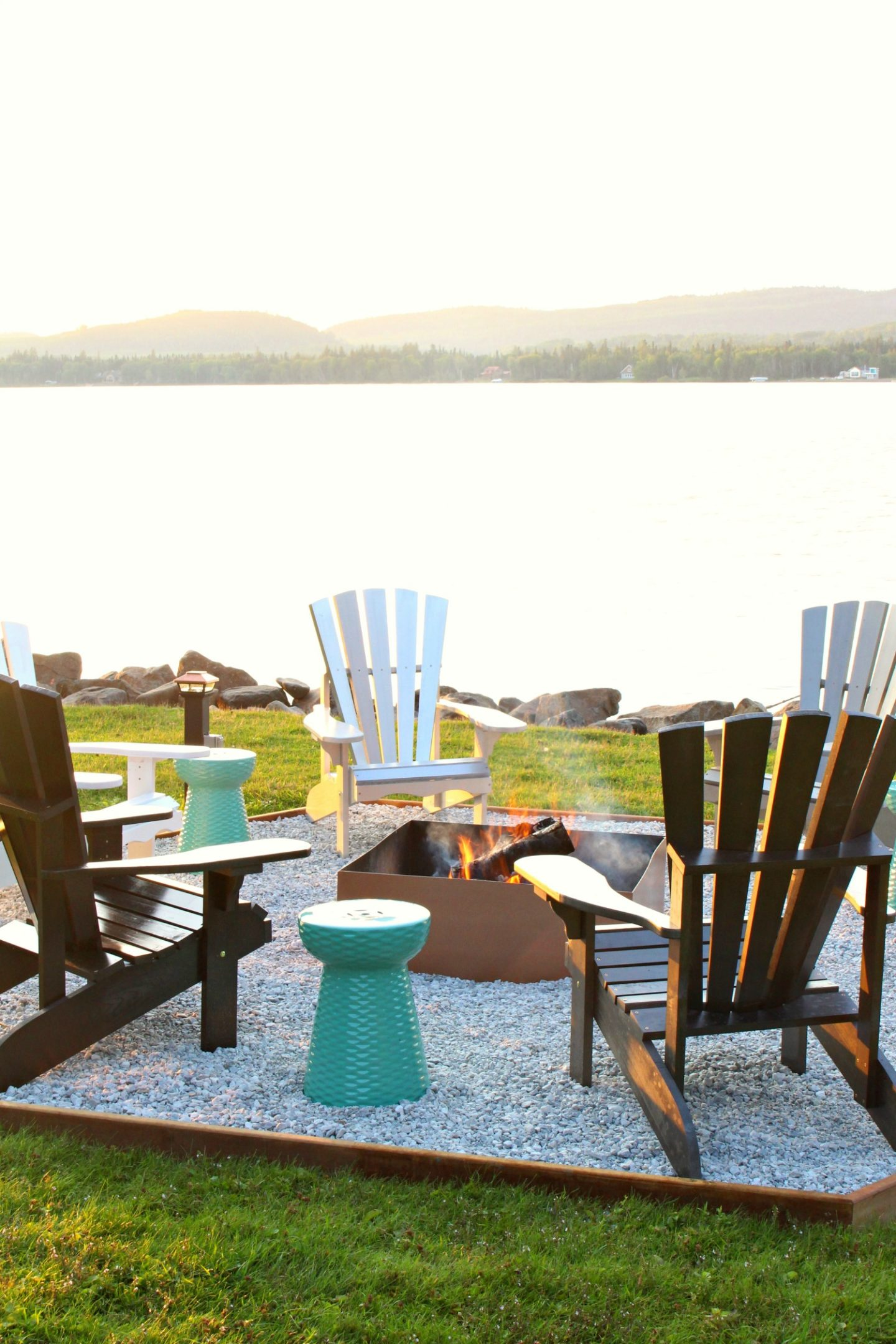 Lakefront Fire Pit Makeover + DIY Ombre Adirondack Chairs (Sponsored by The Home Depot Canada)