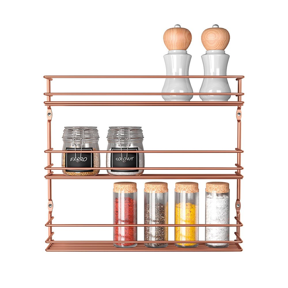 Modern Copper Spice Rack for the Wall
