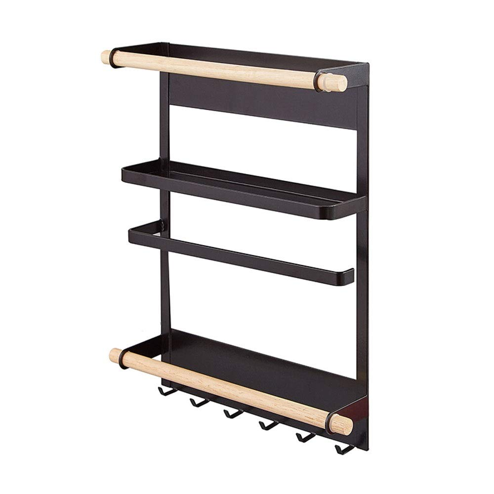 Small Space Storage Spice Rack with Hooks and Shelves