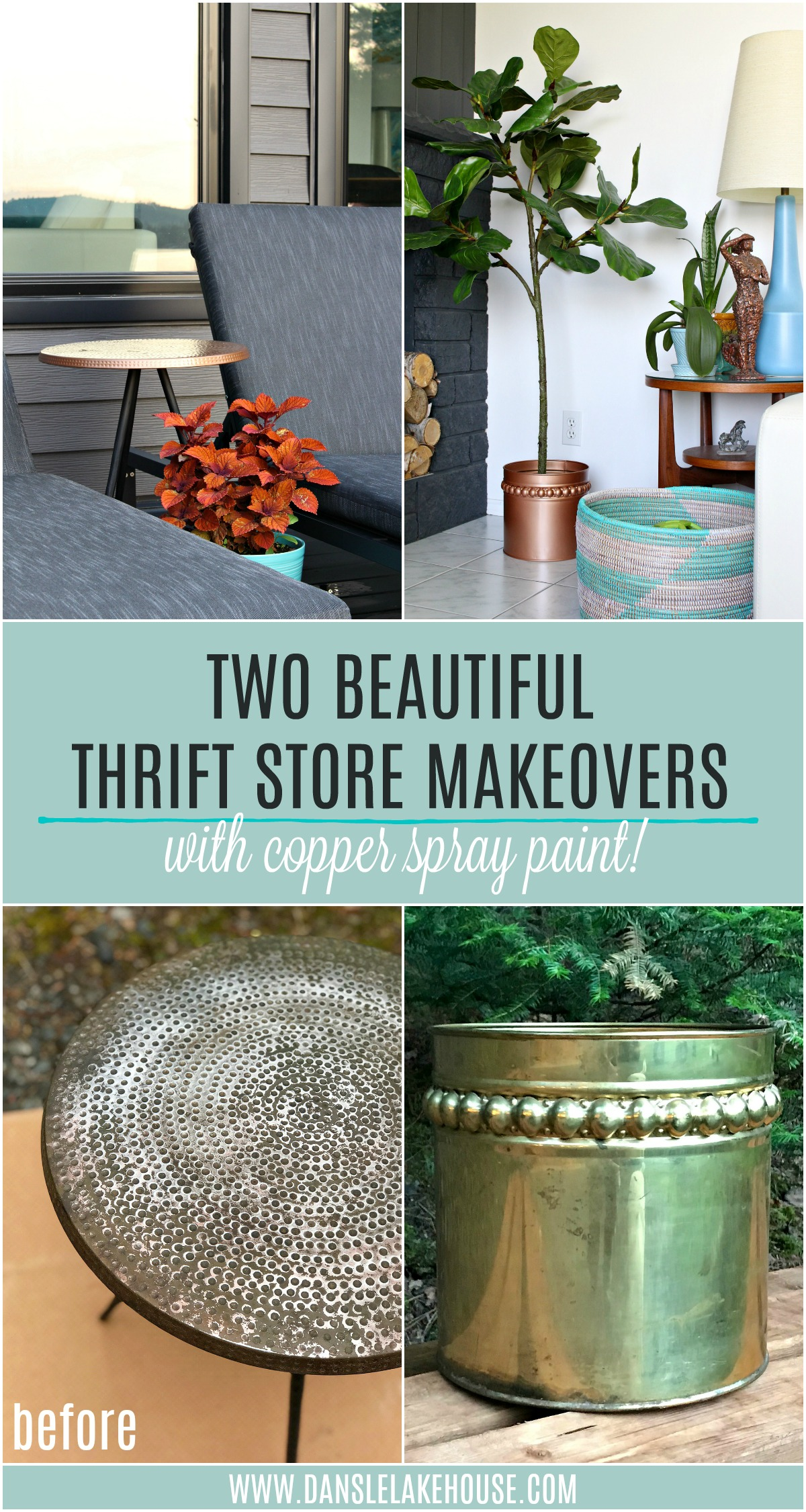 2 Beautiful Thrift Store Upcycle Copper Spray Paint Makeovers | The BEST Copper Spray Paint for Indoor and Outdoor Projects.