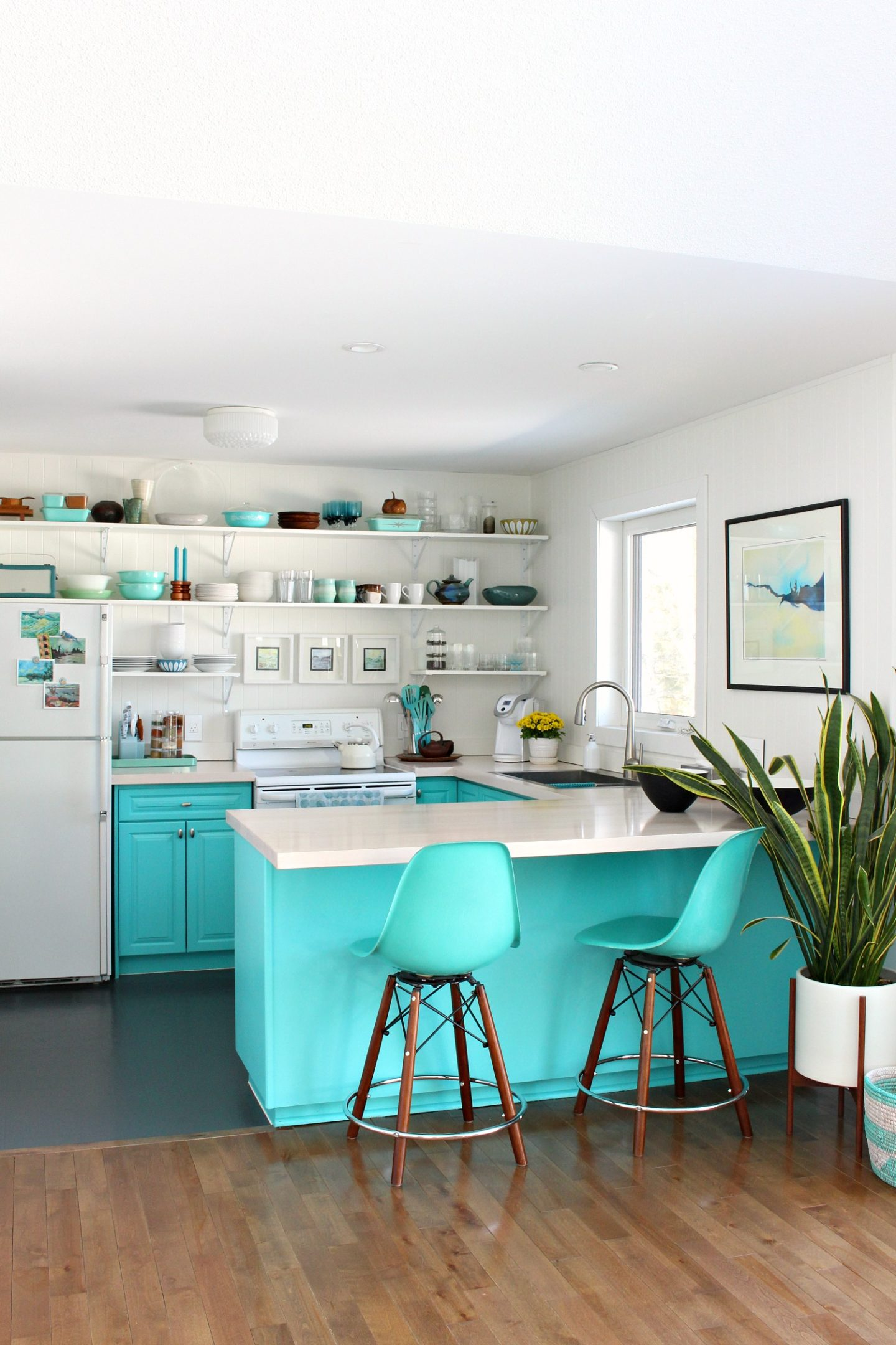 Turquoise Kitchen Cabinets Open Shelving