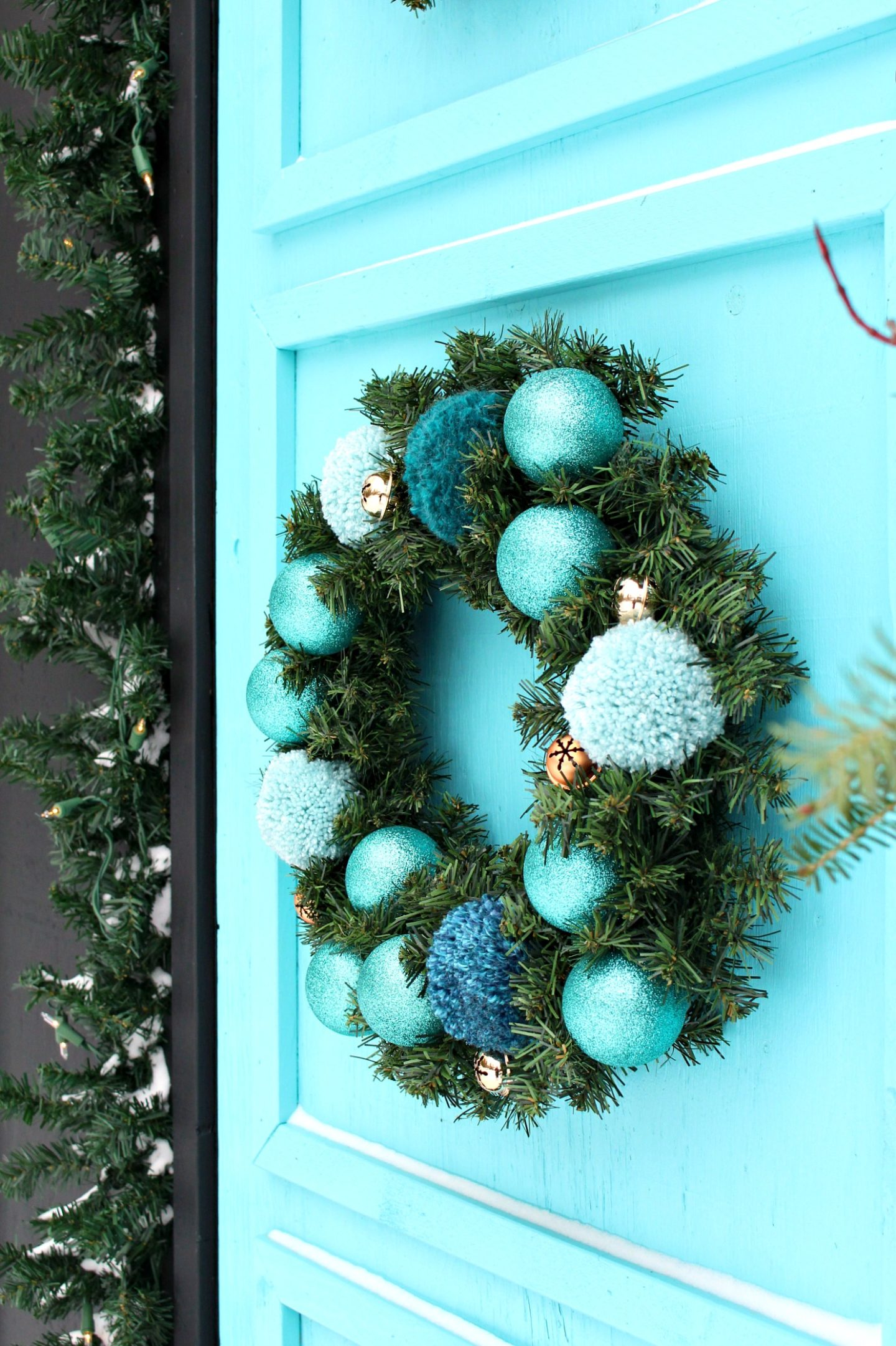 Vintage Inspired Pom Pom and Evergreen Wreath Idea