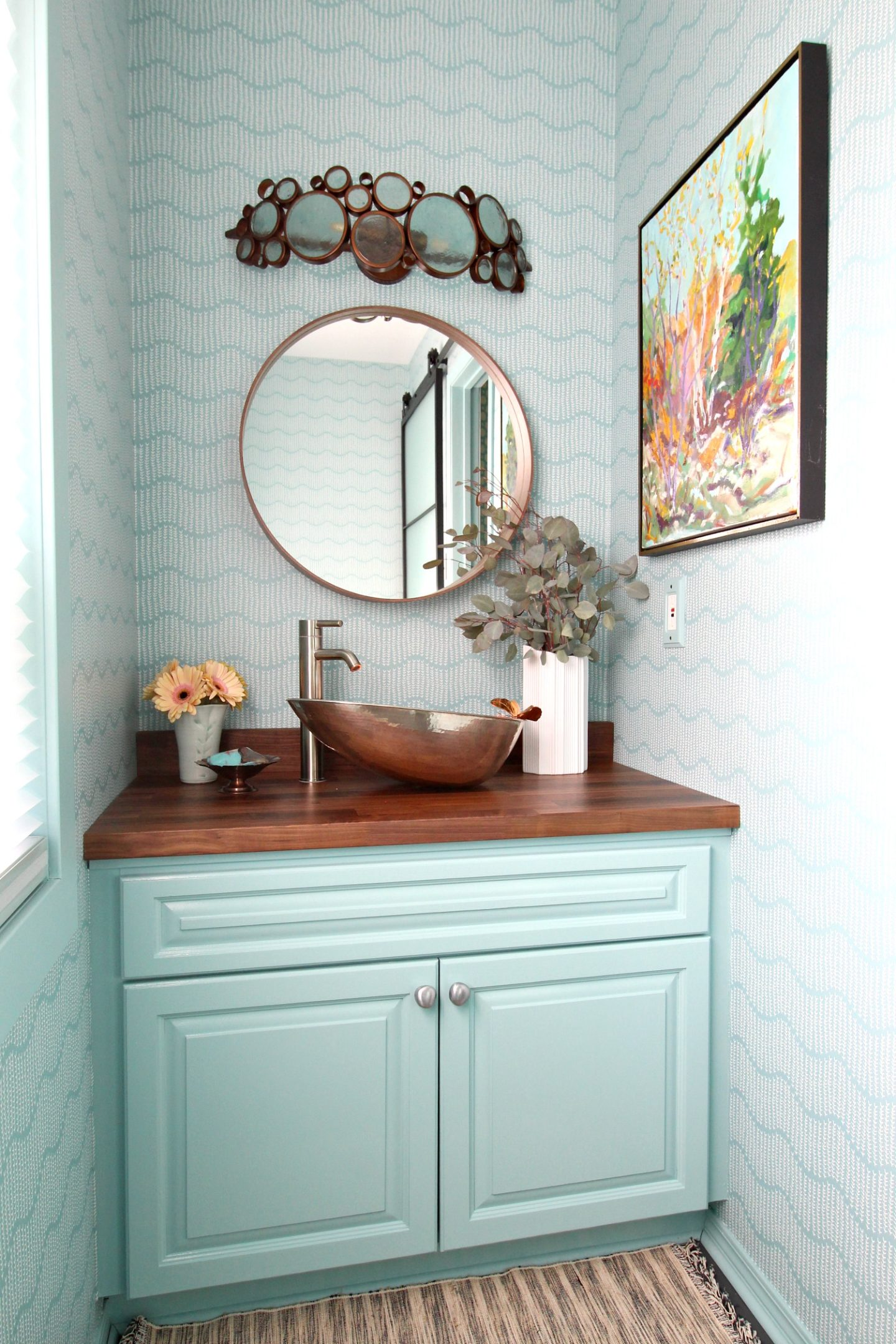 Colorful and Modern Powder Room Makeover