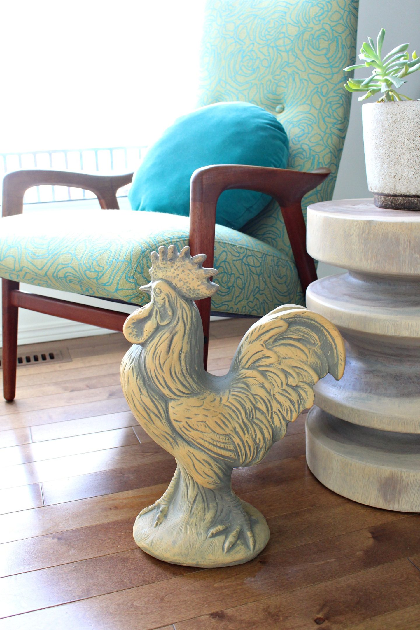 Plaster Rooster Sculpture