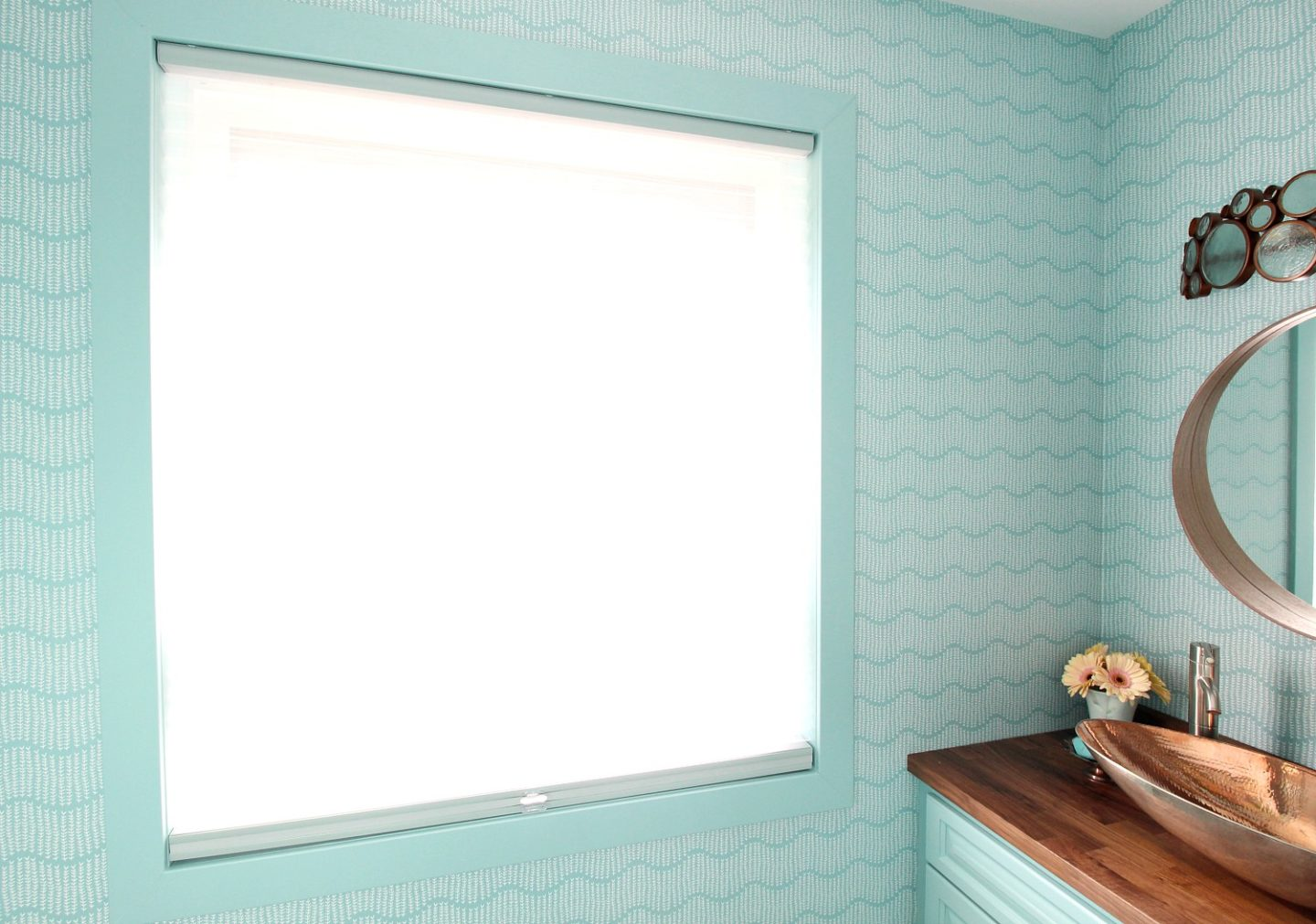 Trim Painted Aqua to Match Wallpaper