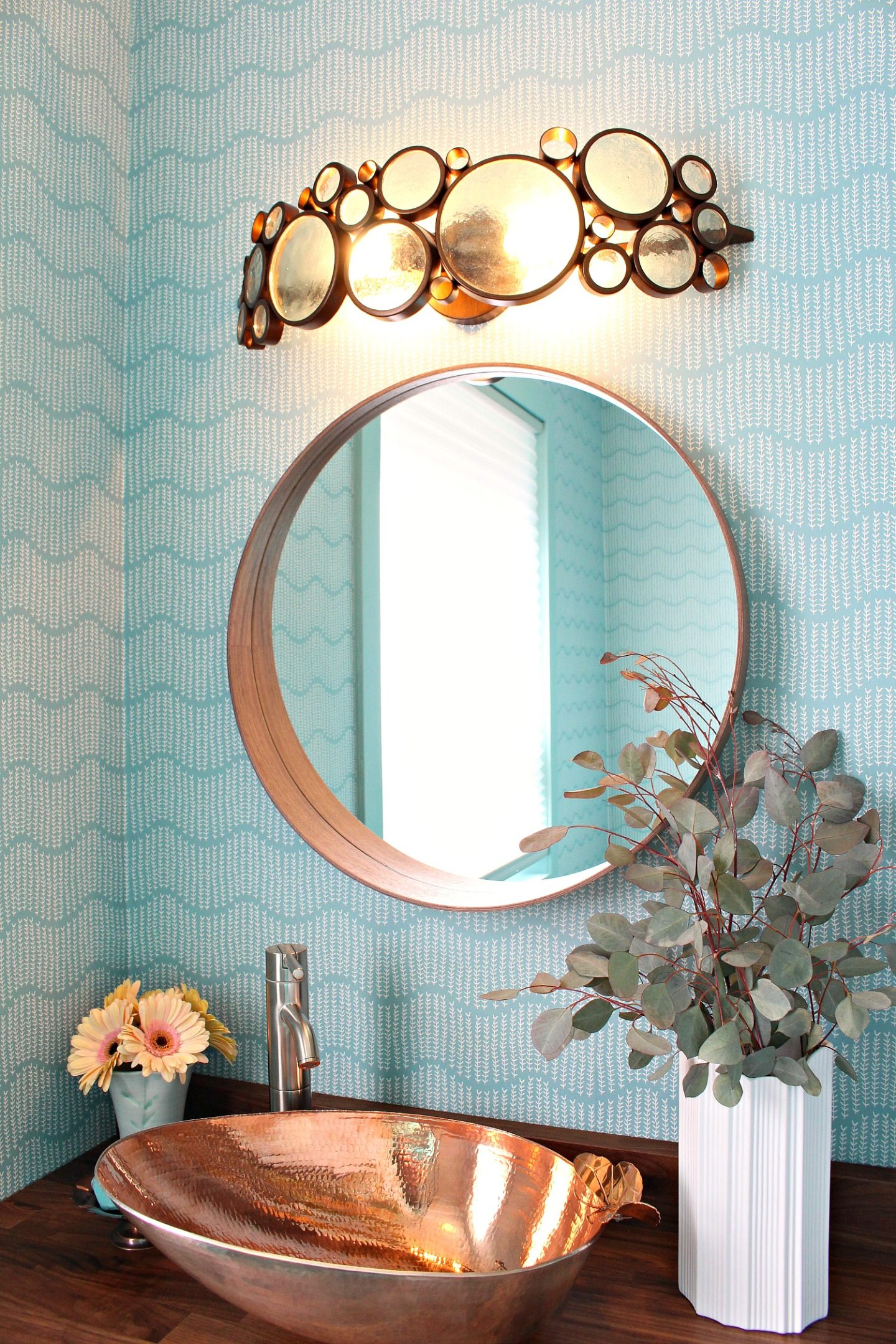 Turquoise and Copper Bathroom Decor