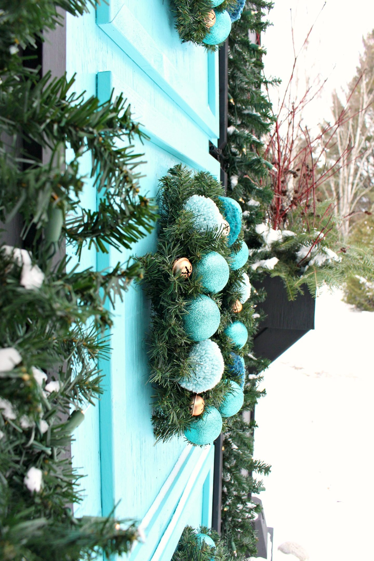 DIY Pom Pom and Ornament Wreath