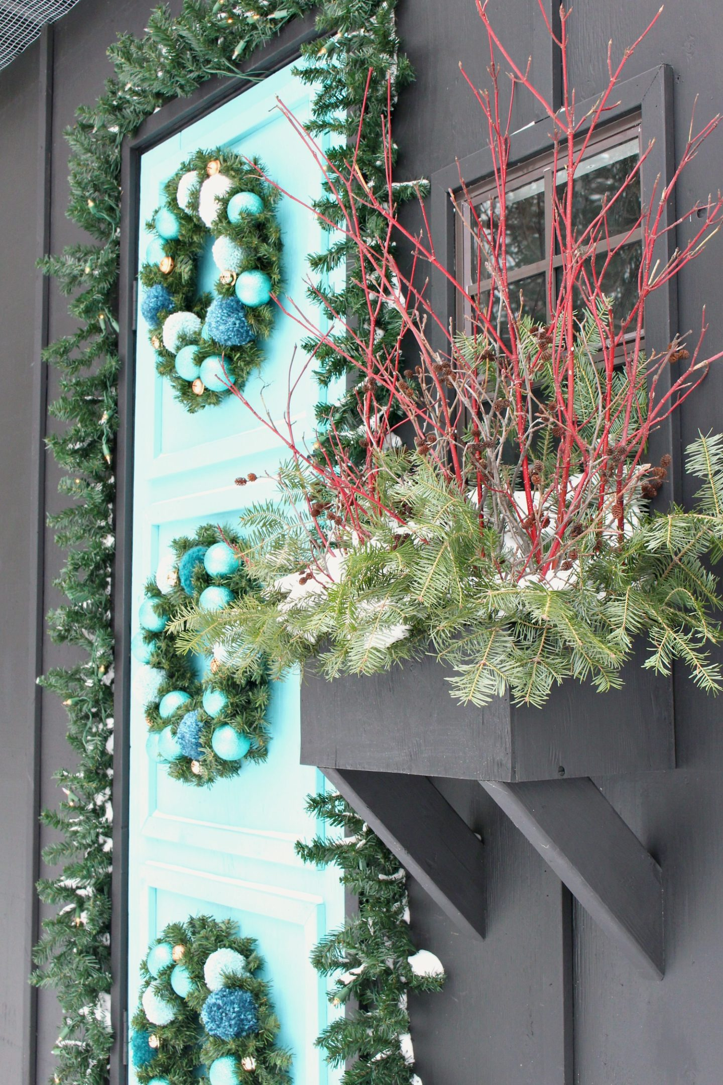 DIY Winter Window Box Holiday Decorating