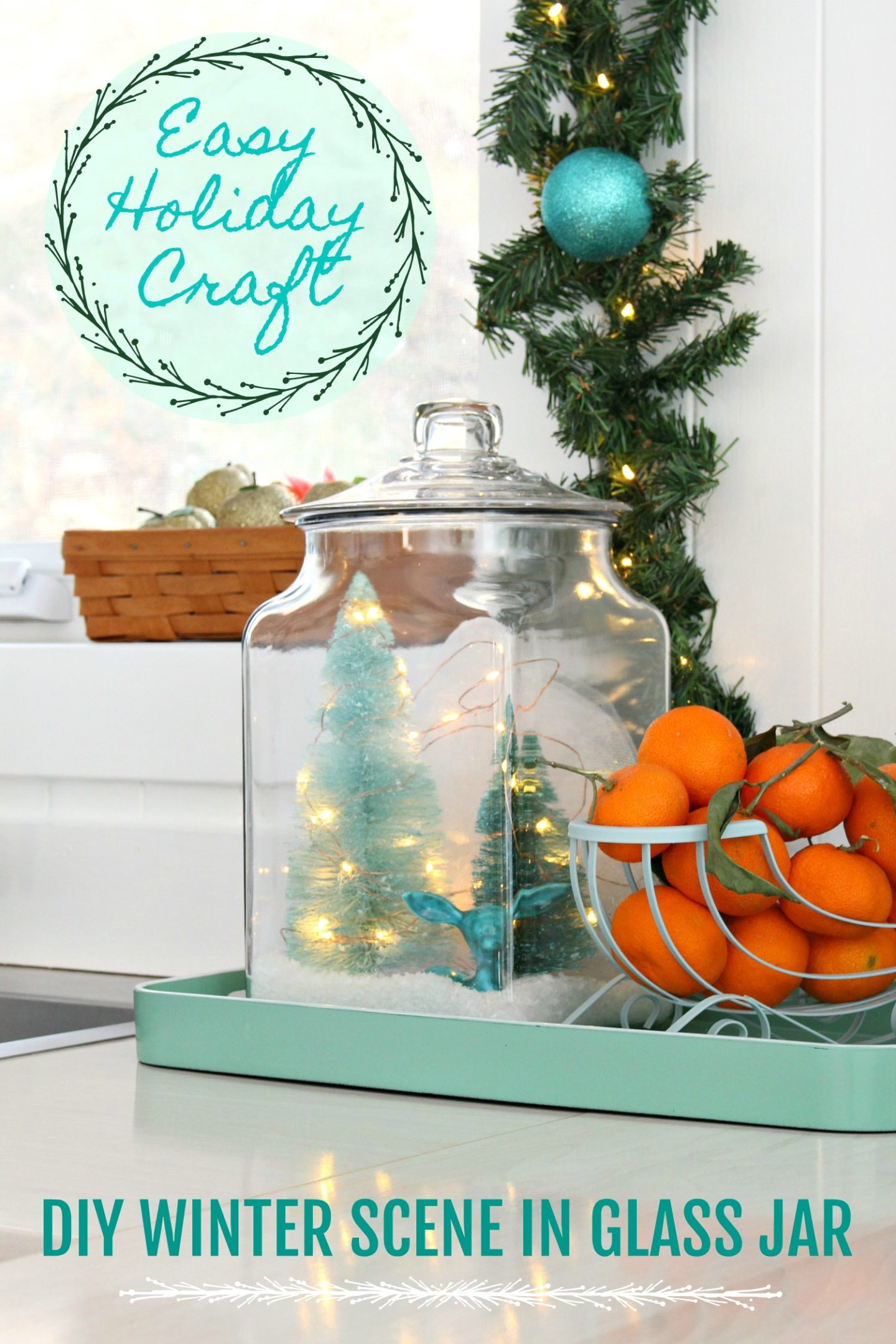 Easy DIY Glass Jar Winter Scene