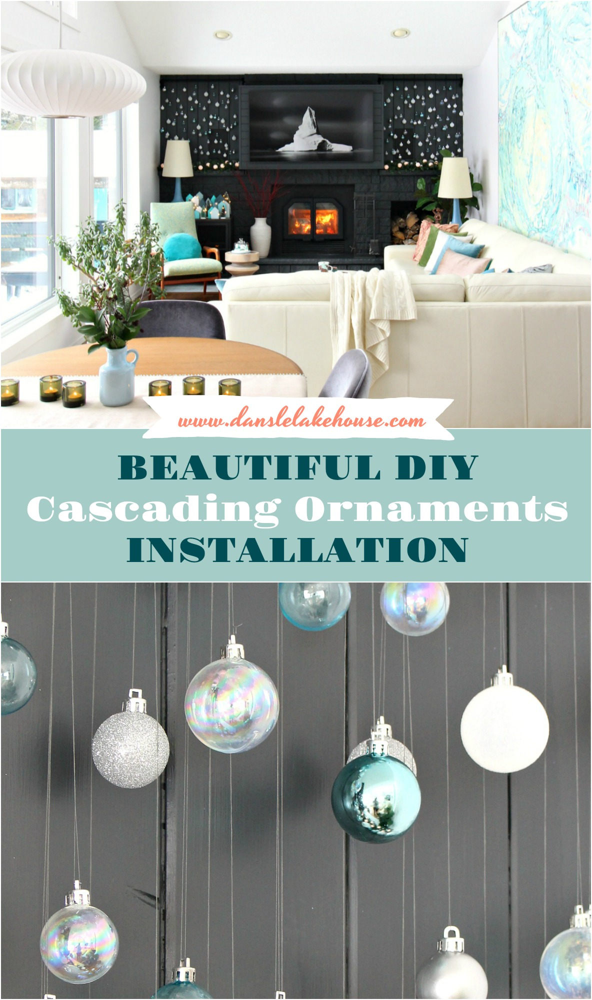 Beautiful DIY Cascading Ornaments Installation | DIY Ornament Display