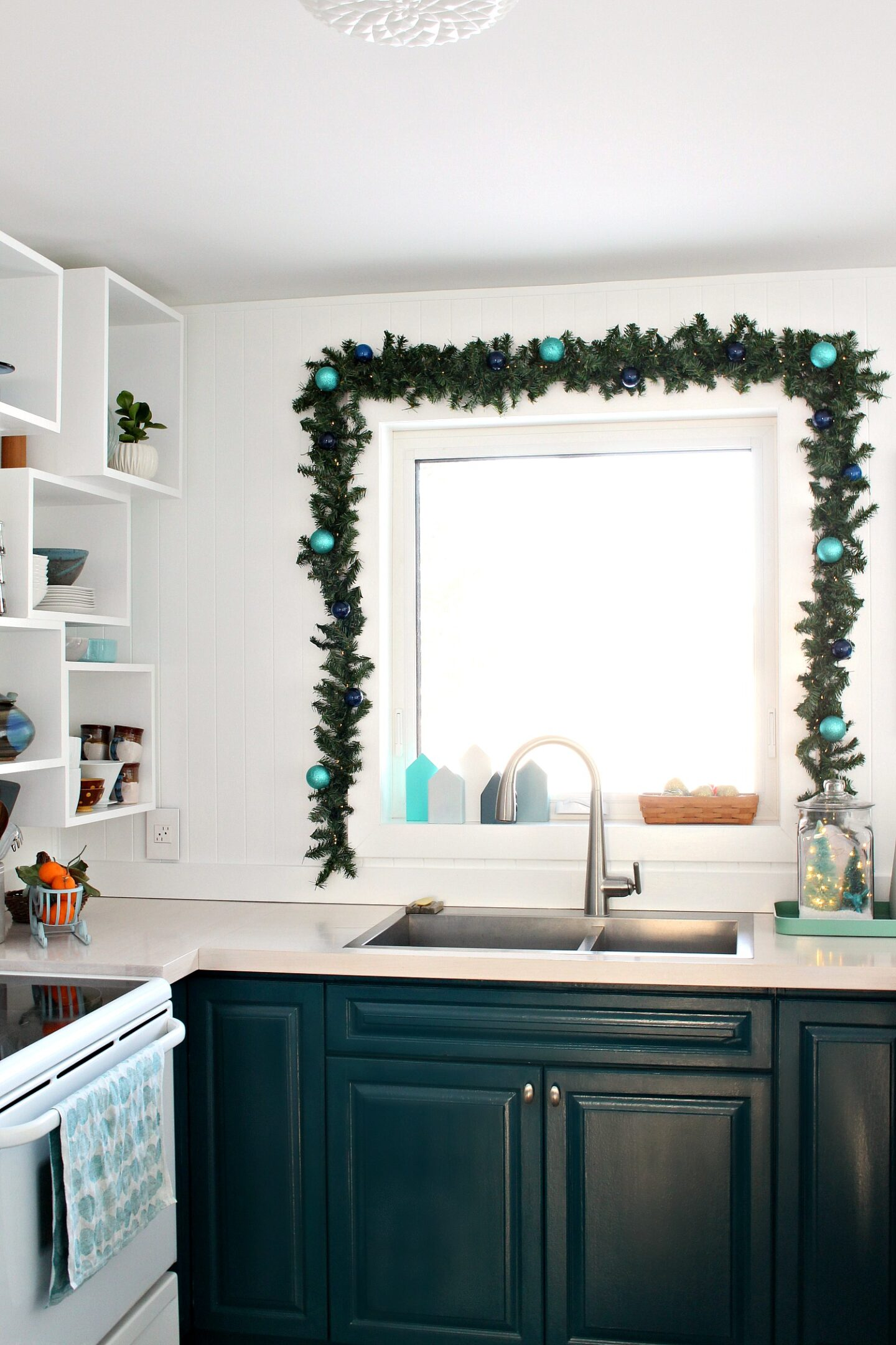 How to Hang Garland Around Window - Kitchen Window Garland for Holidays
