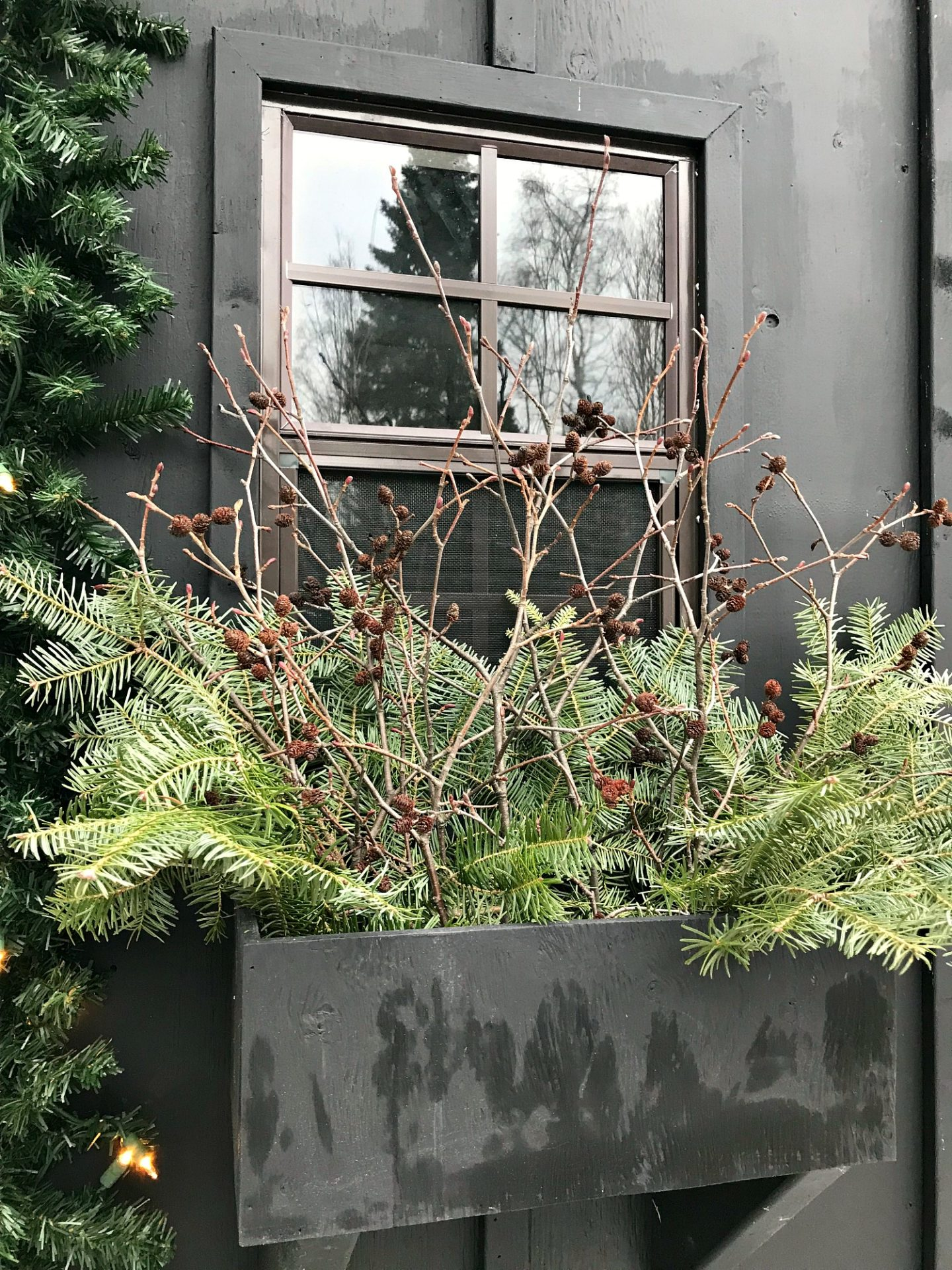 All Natural Winter Window Box Decorating Ideas
