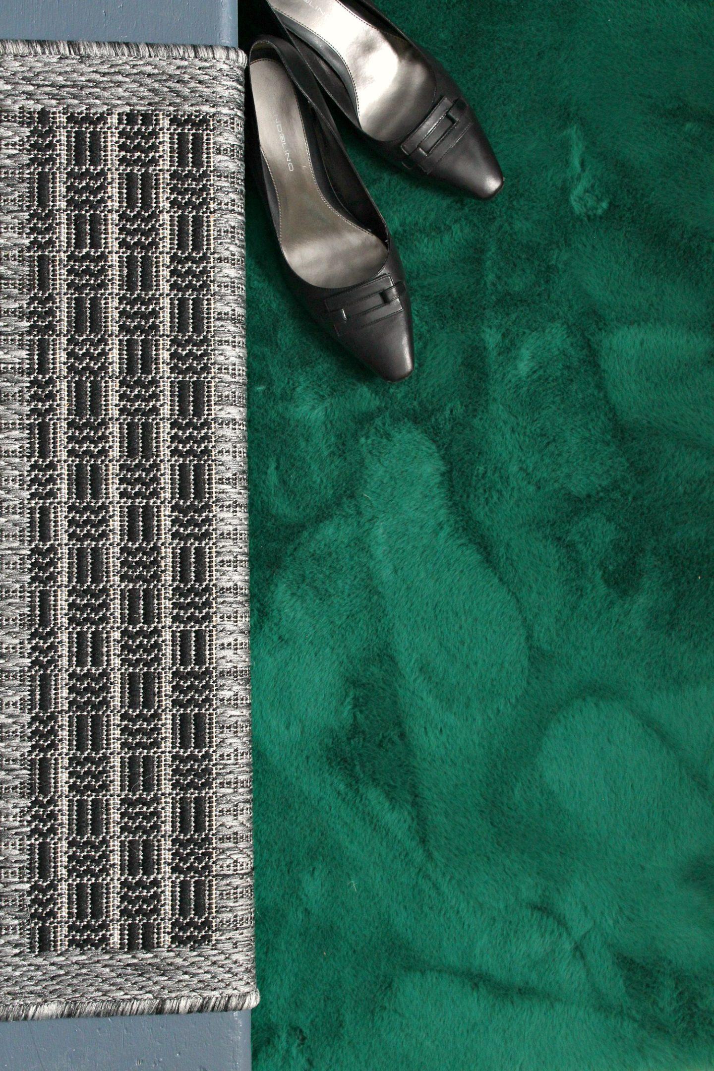 Green Faux Shearling Rug