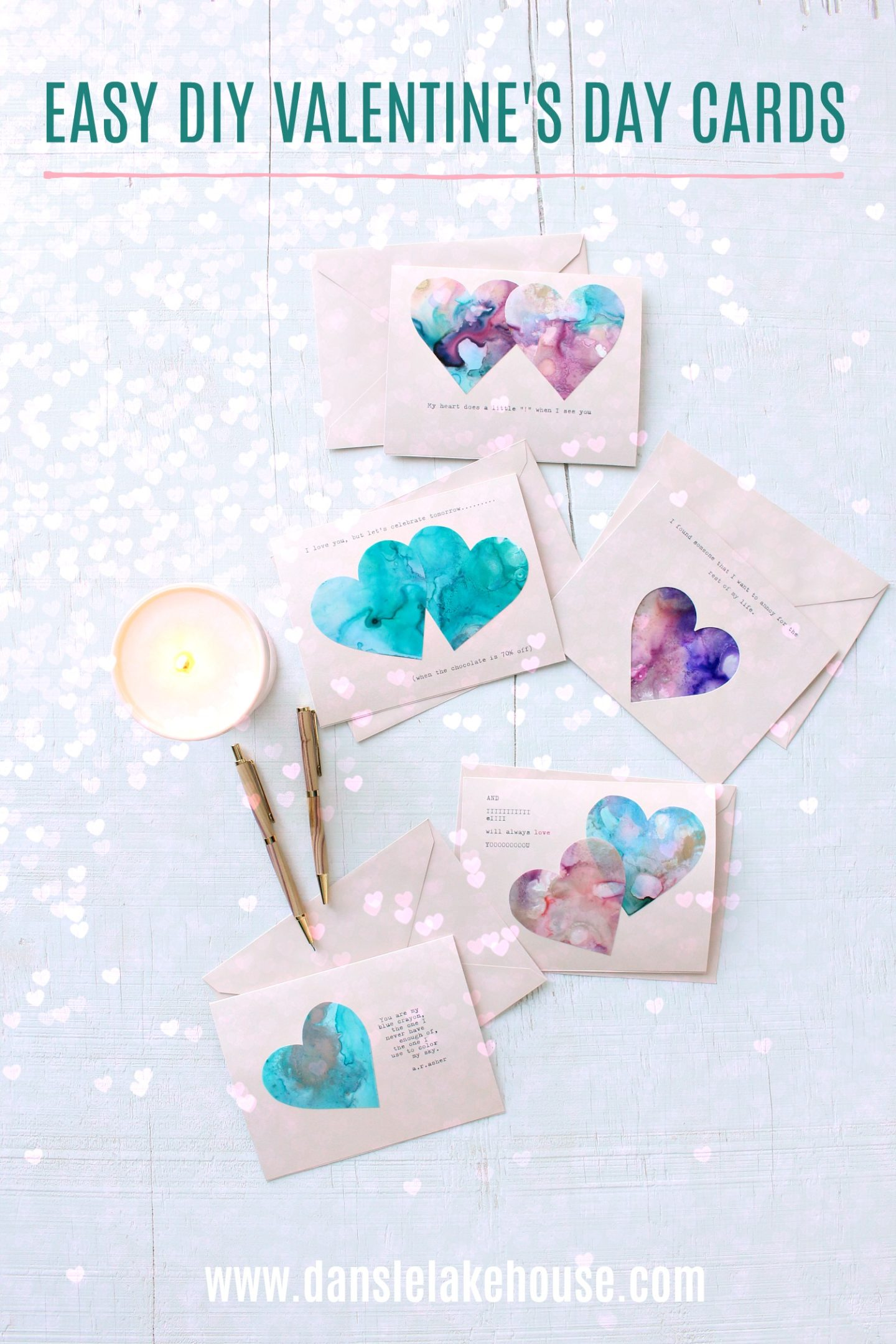 Easy DIY Valentine's Day Cards Using Alcohol Inks