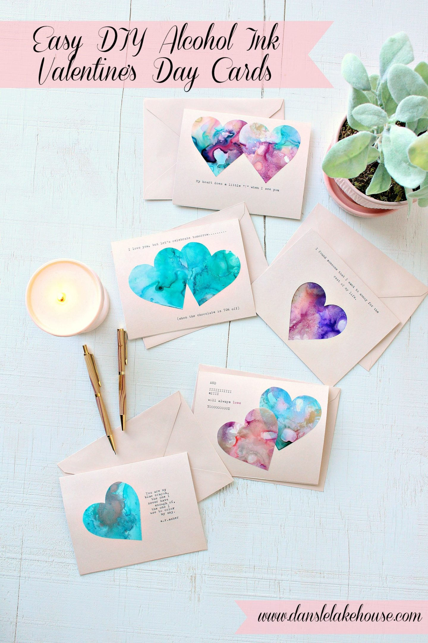 Easy DIY Valentine's Day Cards Made with Alcohol Inks