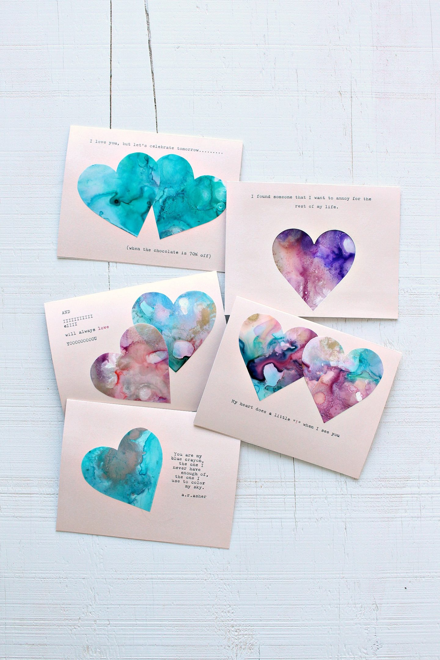 Marbled DIY Heart Cards for Valentine's Day