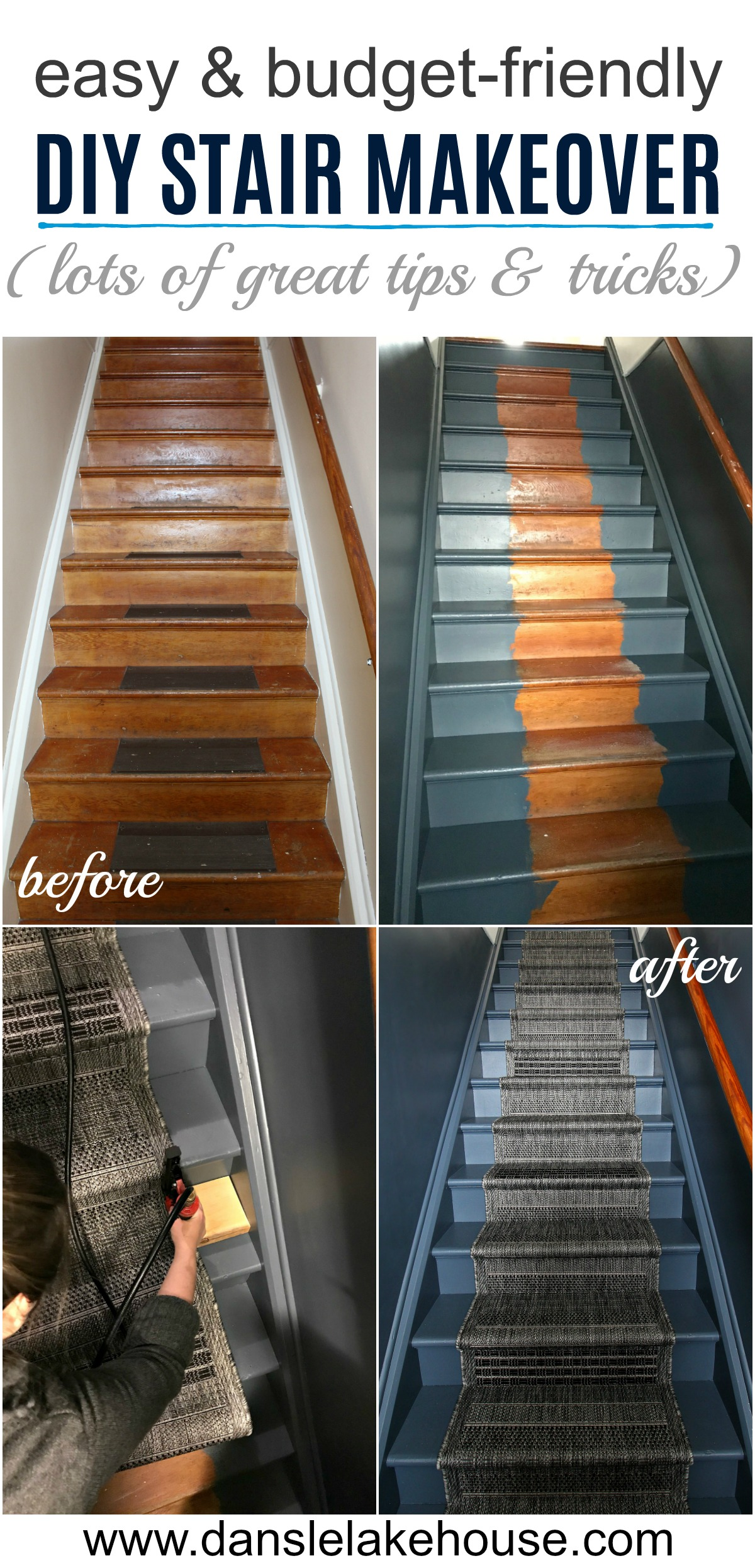 easy and budget-friendly stair makeover with DIY runner tutorial
