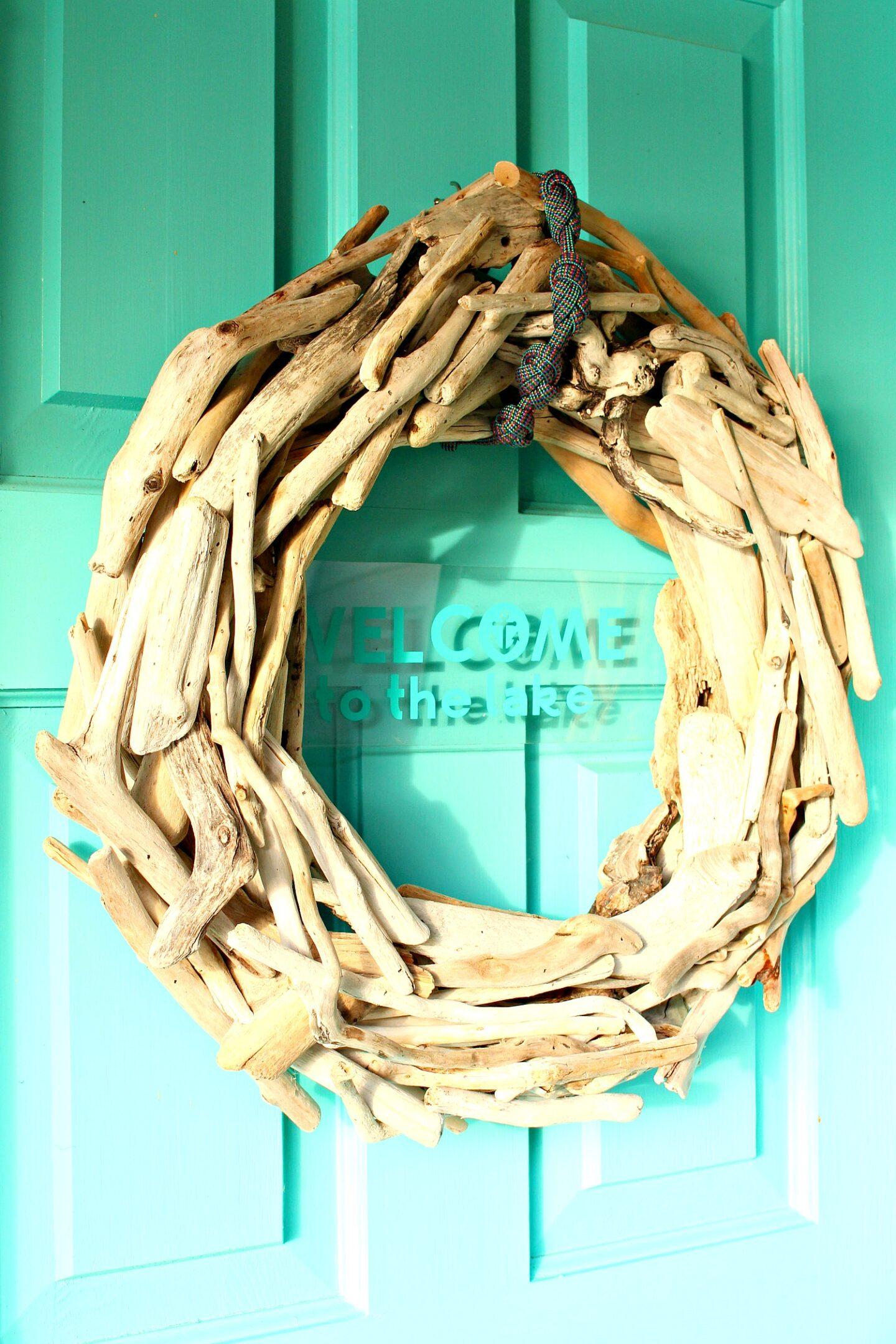 DIY Driftwood Wreath with Cricut Joy Welcome Sign