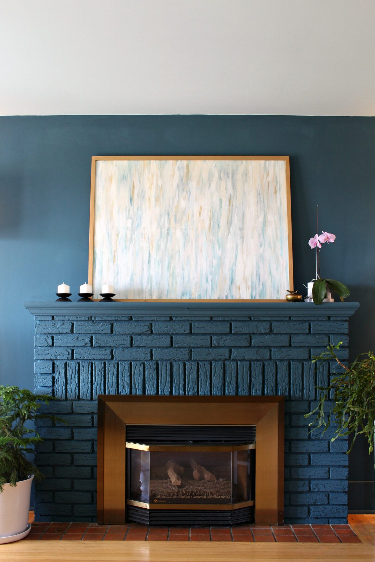 Grey Blue Painted Fireplace